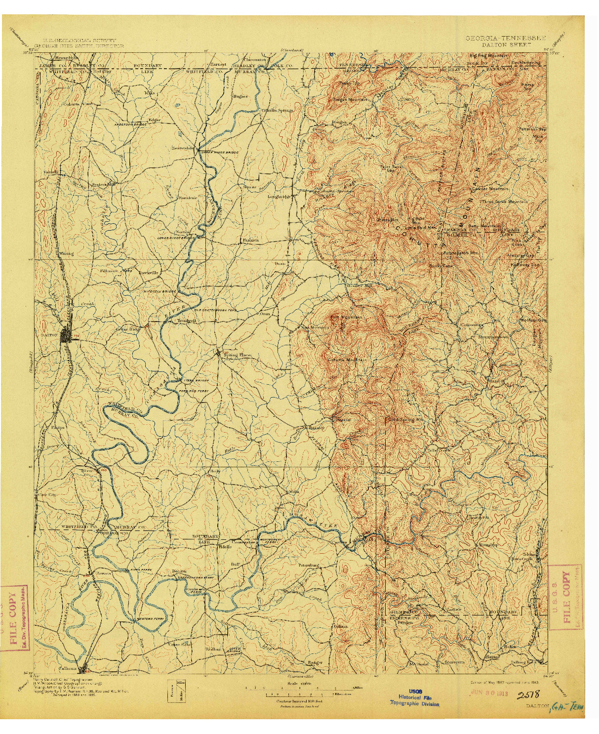 USGS 1:125000-SCALE QUADRANGLE FOR DALTON, GA 1897