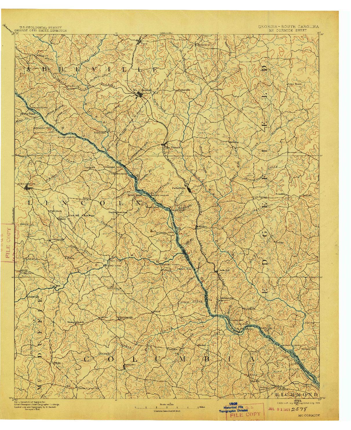 USGS 1:125000-SCALE QUADRANGLE FOR MC CORMICK, GA 1912