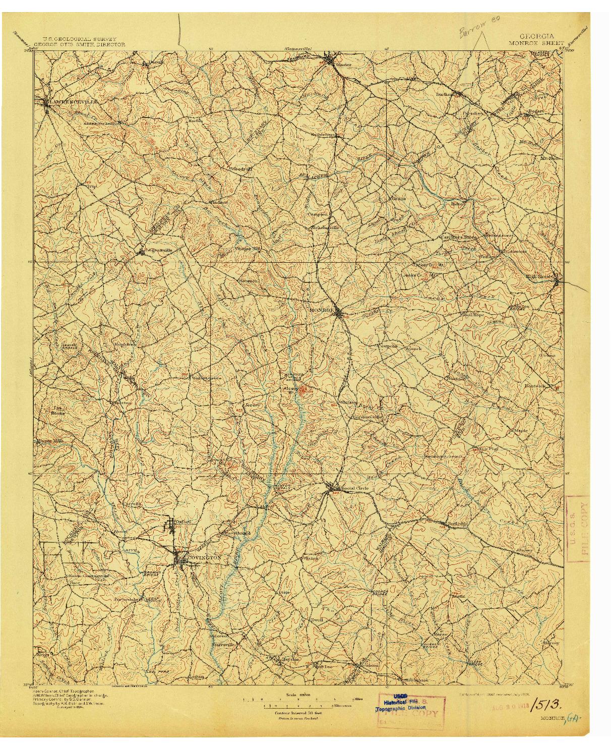 USGS 1:125000-SCALE QUADRANGLE FOR MONROE, GA 1896