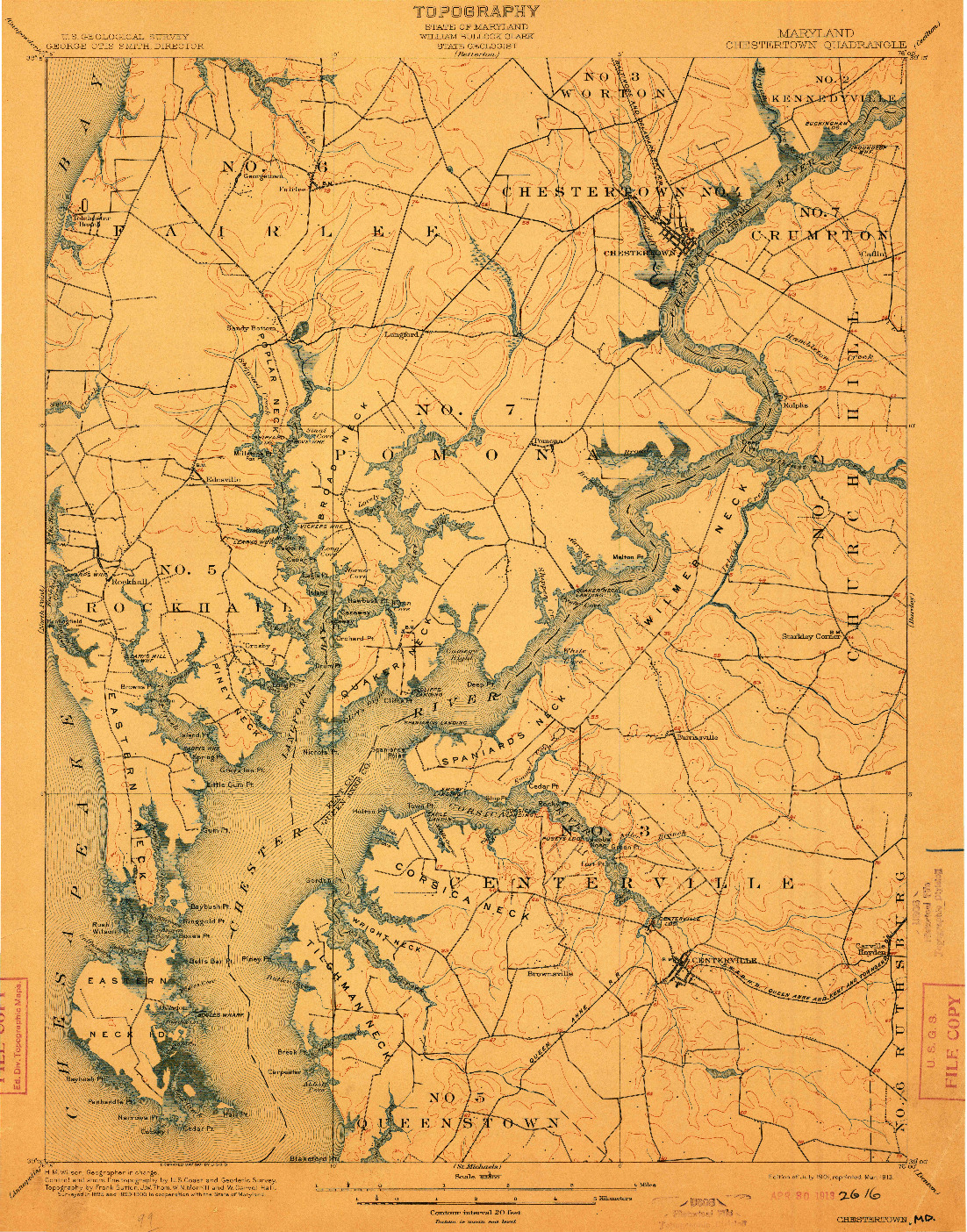 USGS 1:62500-SCALE QUADRANGLE FOR CHESTERTOWN, MD 1901