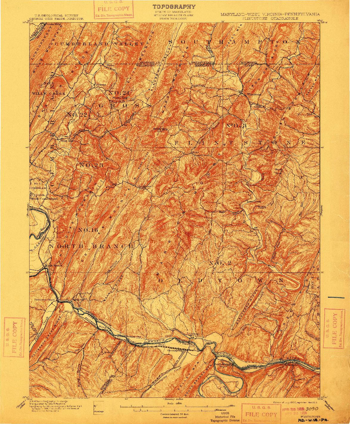 USGS 1:62500-SCALE QUADRANGLE FOR FLINTSTONE, MD 1900