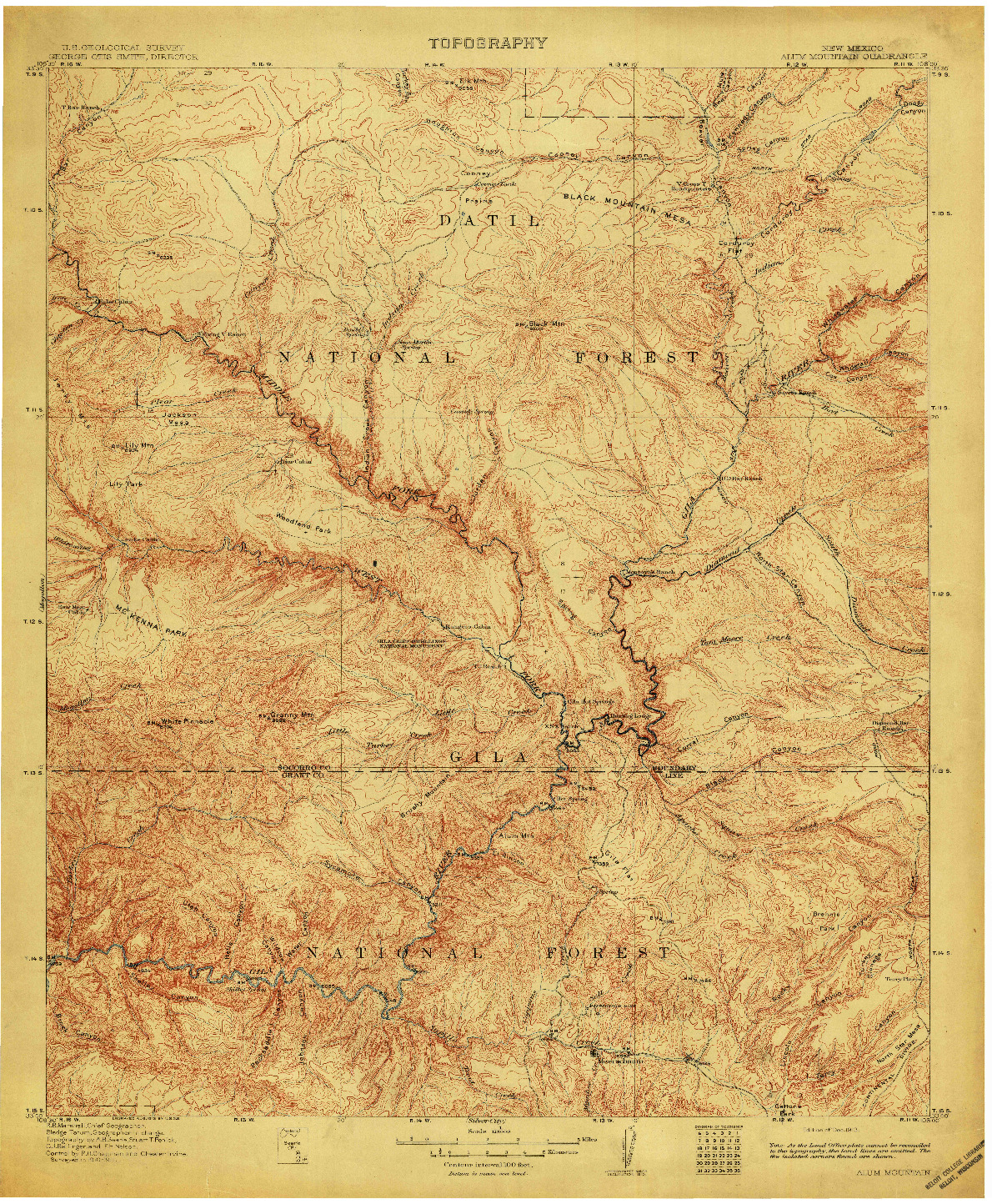 USGS 1:125000-SCALE QUADRANGLE FOR ALUM MOUNTAIN, NM 1913