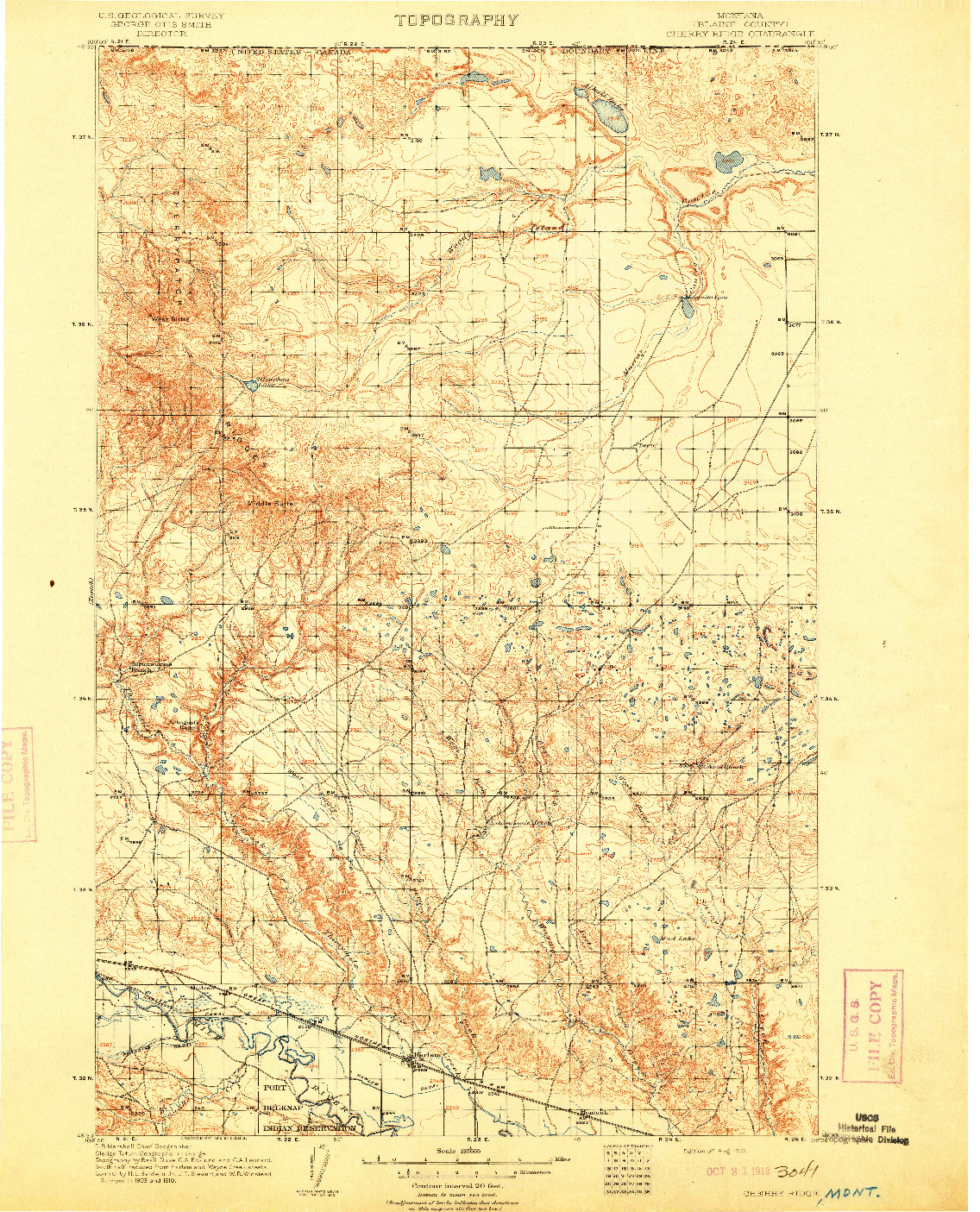 USGS 1:125000-SCALE QUADRANGLE FOR CHERRY RIDGE, MT 1913