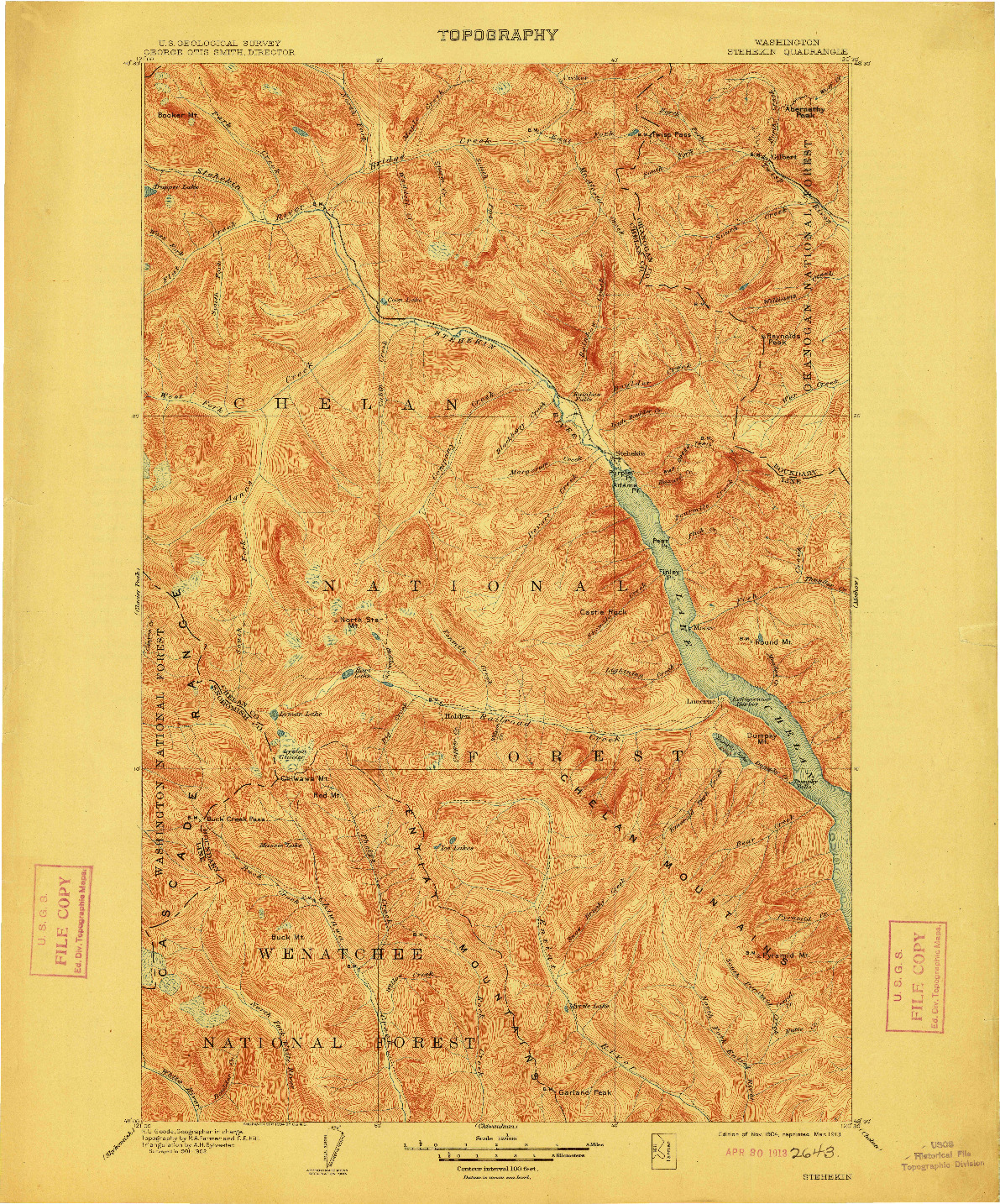 USGS 1:125000-SCALE QUADRANGLE FOR STEHEKIN, WA 1904
