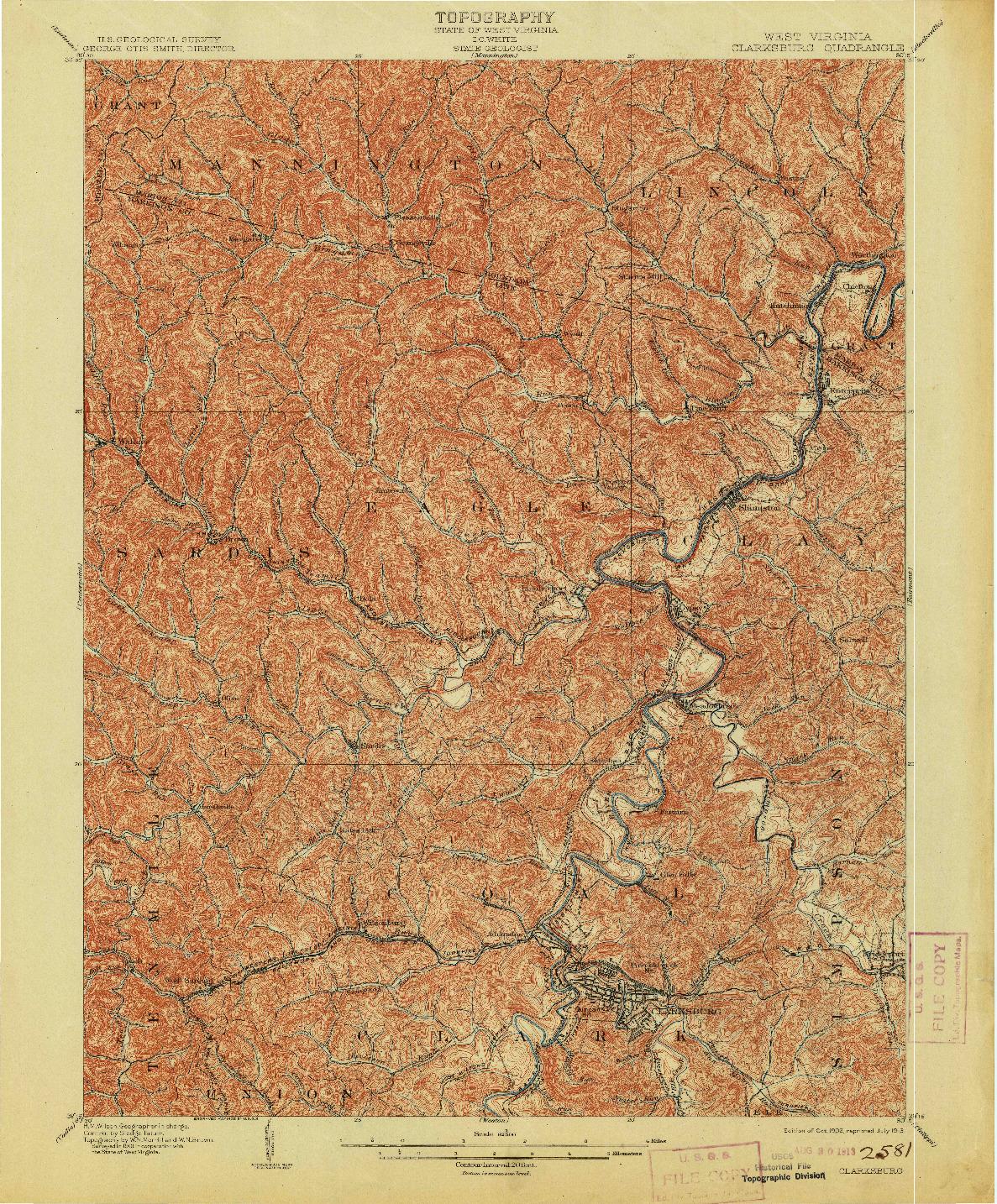 USGS 1:62500-SCALE QUADRANGLE FOR CLARKSBURG, WV 1902