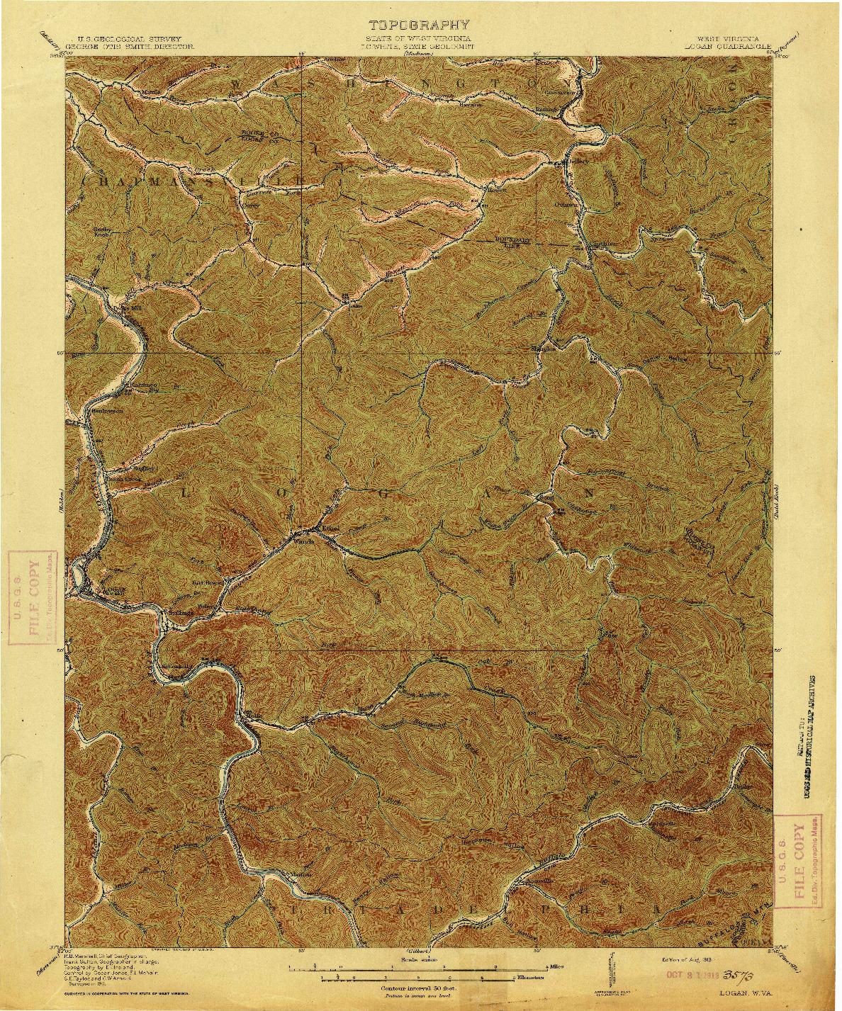 USGS 1:62500-SCALE QUADRANGLE FOR LOGAN, WV 1913