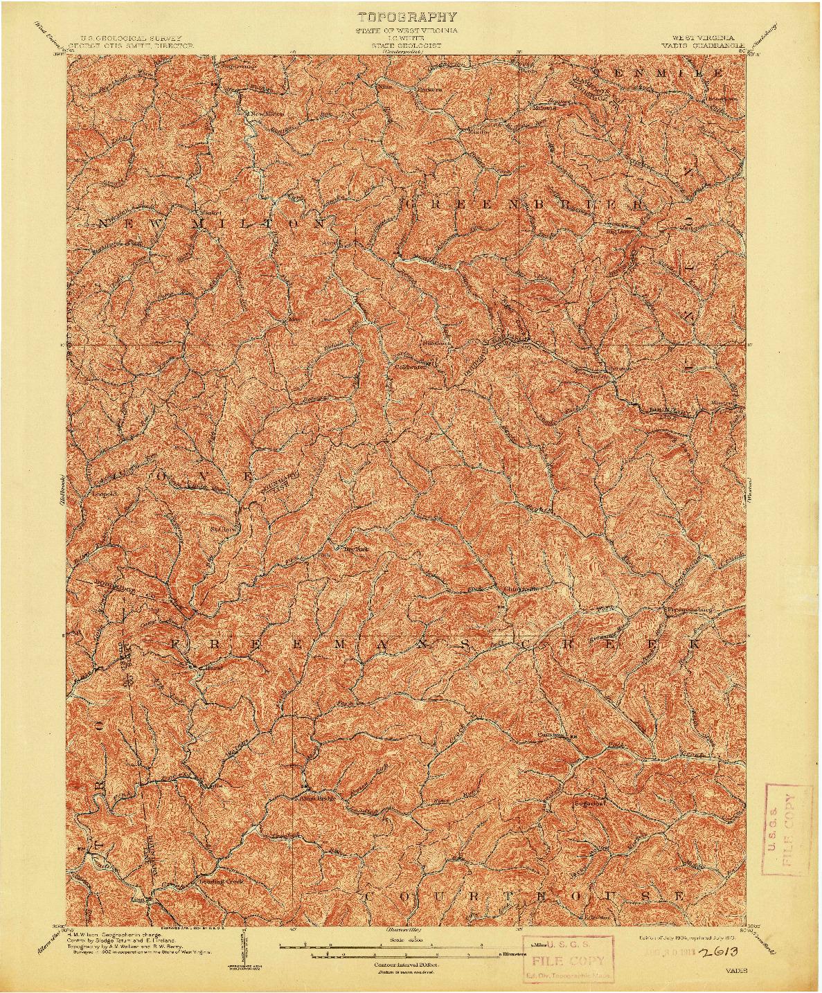 USGS 1:62500-SCALE QUADRANGLE FOR VADIS, WV 1904