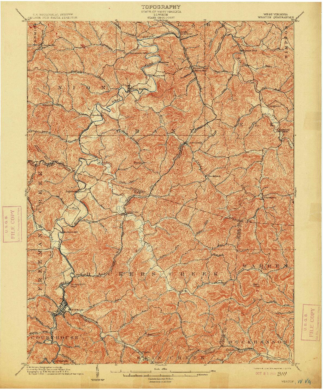 USGS 1:62500-SCALE QUADRANGLE FOR WESTON, WV 1904