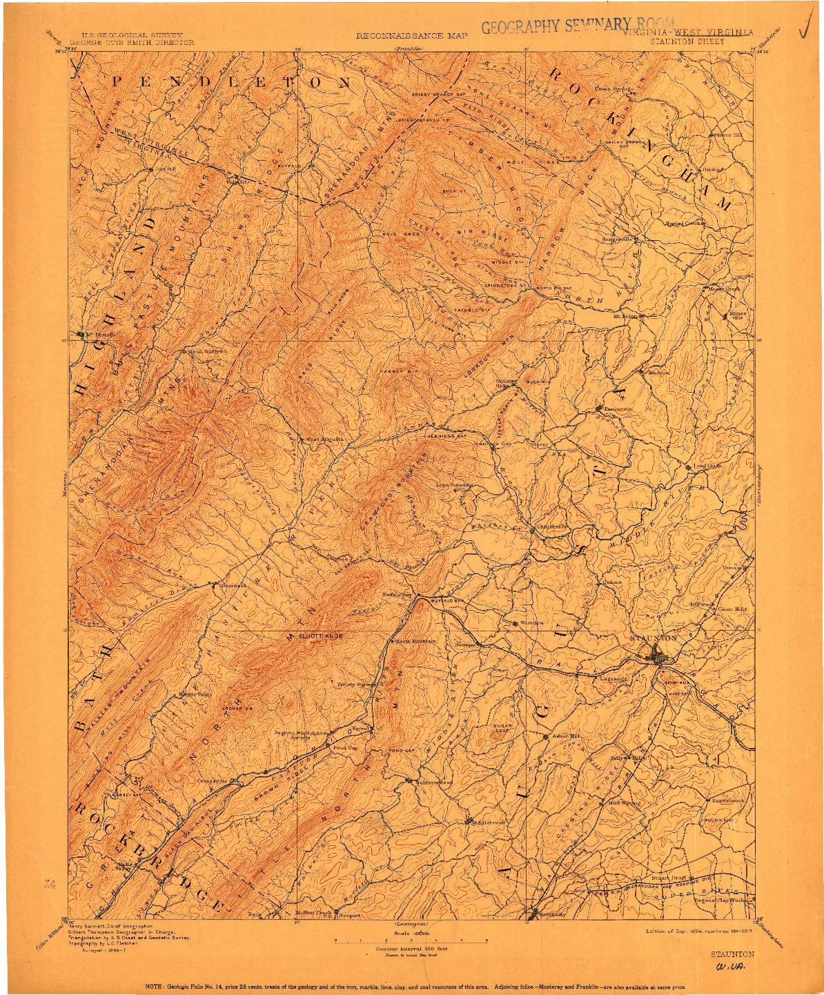 USGS 1:125000-SCALE QUADRANGLE FOR STAUNTON, WV 1894