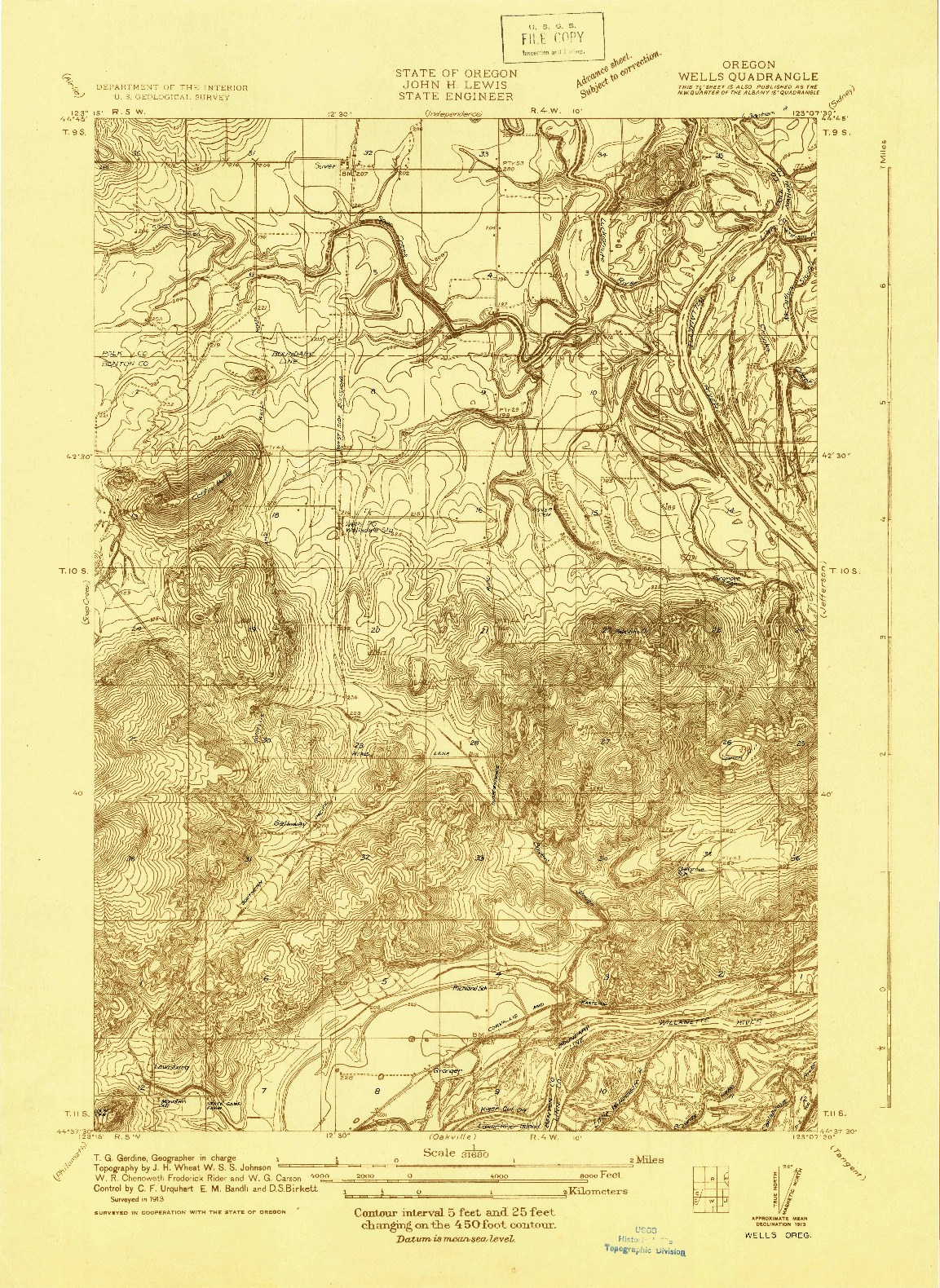 USGS 1:31680-SCALE QUADRANGLE FOR WELLS, OR 1913