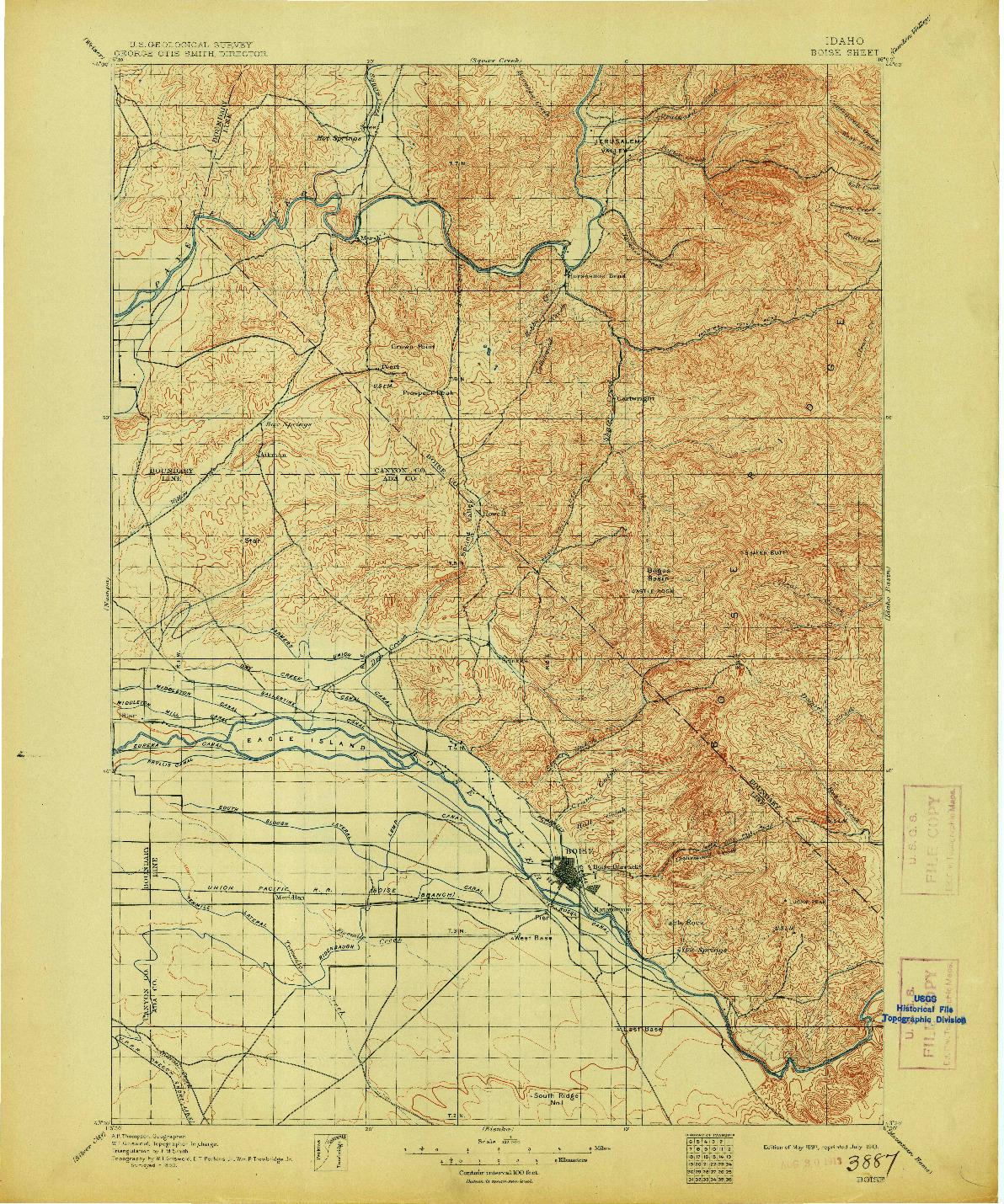 USGS 1:125000-SCALE QUADRANGLE FOR BOISE, ID 1897