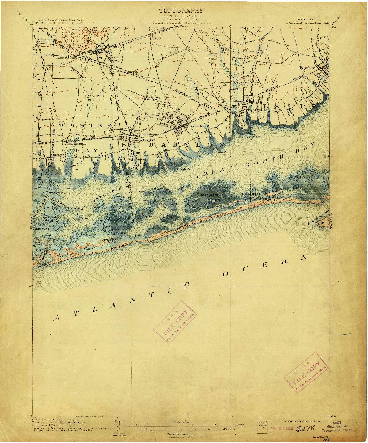 USGS 1:62500-SCALE QUADRANGLE FOR BABYLON, NY 1903