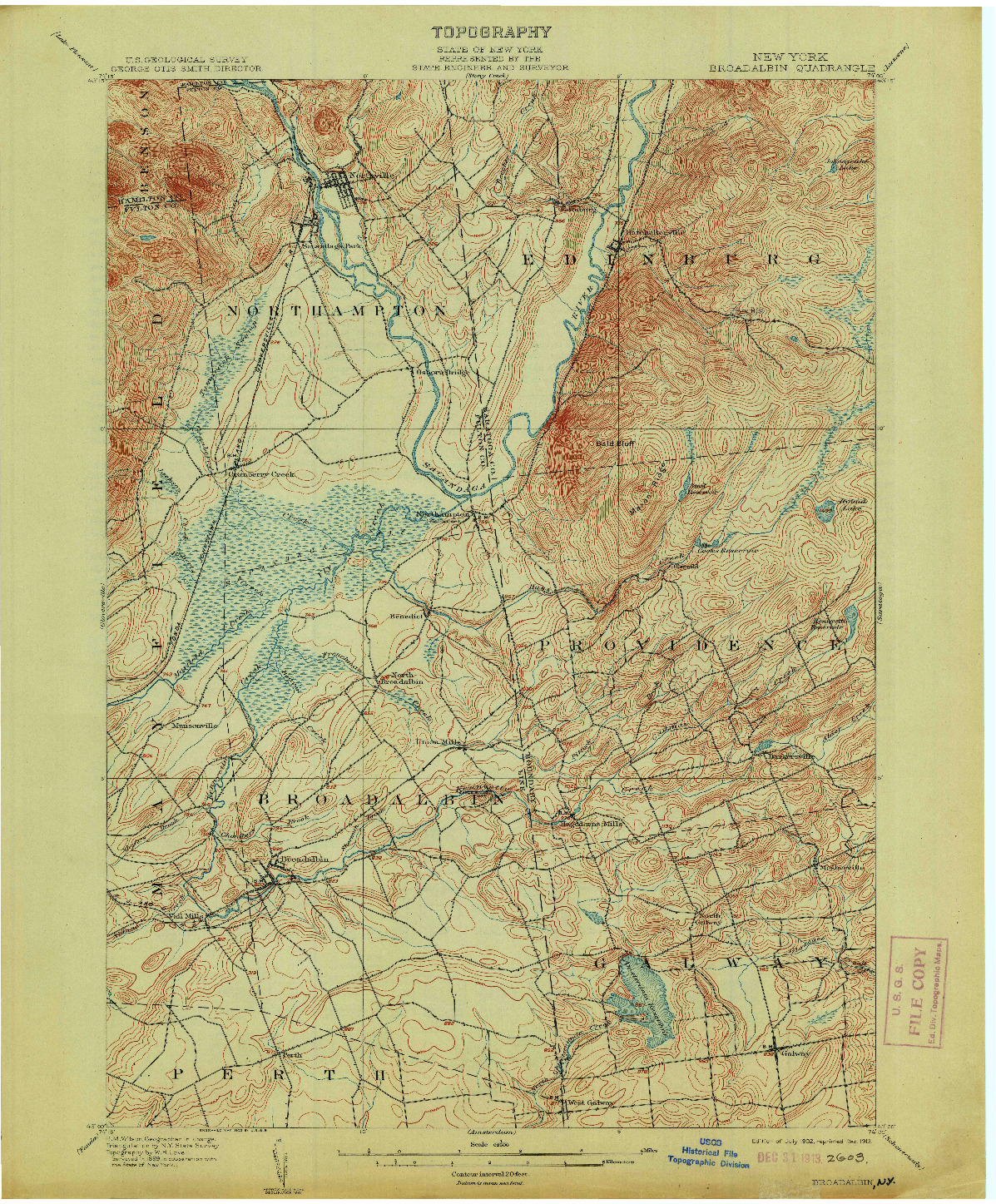 USGS 1:62500-SCALE QUADRANGLE FOR BROADALBIN, NY 1902