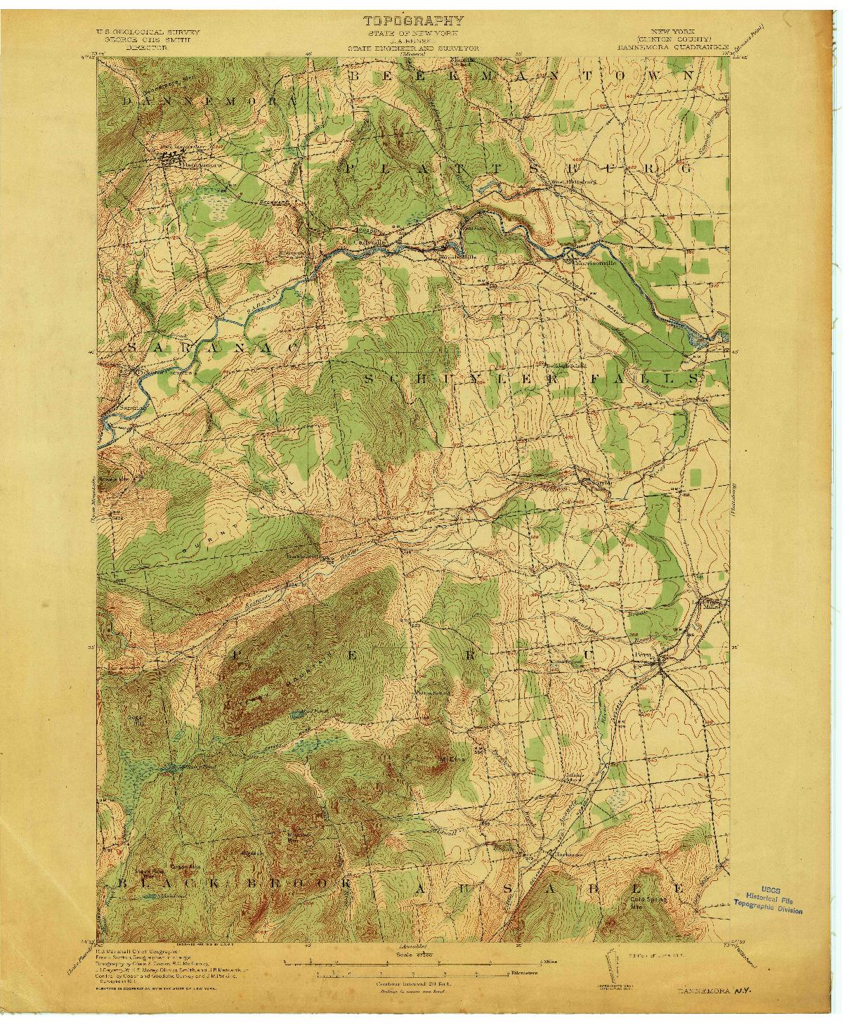 USGS 1:62500-SCALE QUADRANGLE FOR DANNEMORA, NY 1913