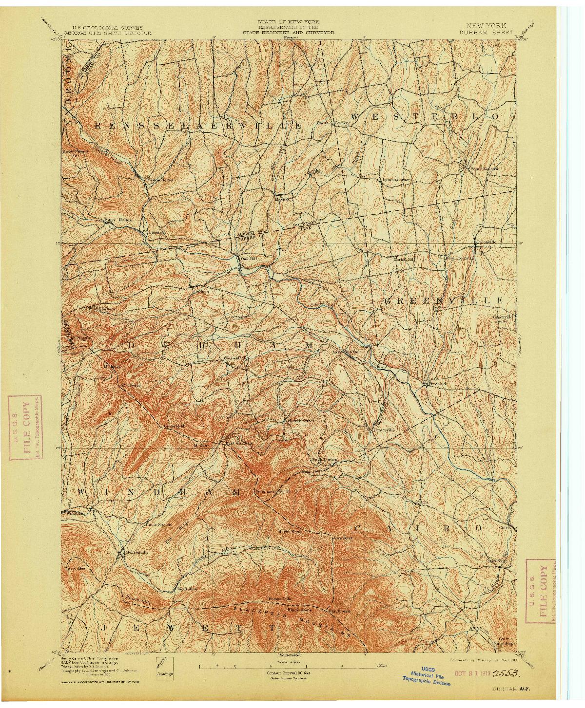 USGS 1:62500-SCALE QUADRANGLE FOR DURHAM, NY 1894