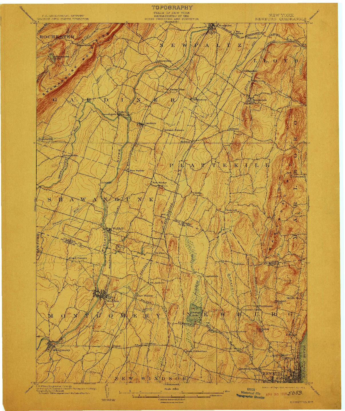 USGS 1:62500-SCALE QUADRANGLE FOR NEWBURG, NY 1903