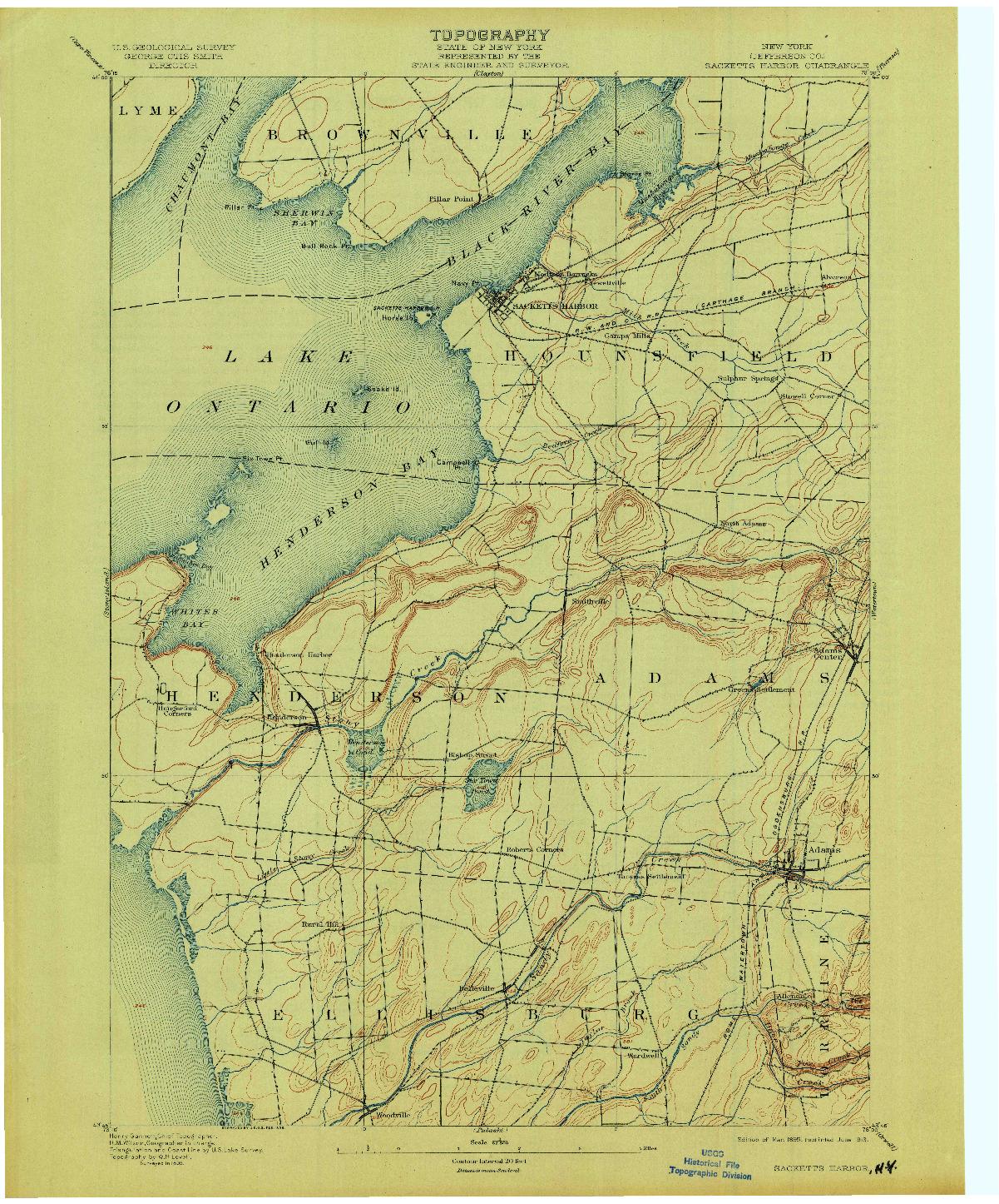 USGS 1:62500-SCALE QUADRANGLE FOR SACKETTS HARBOR, NY 1895