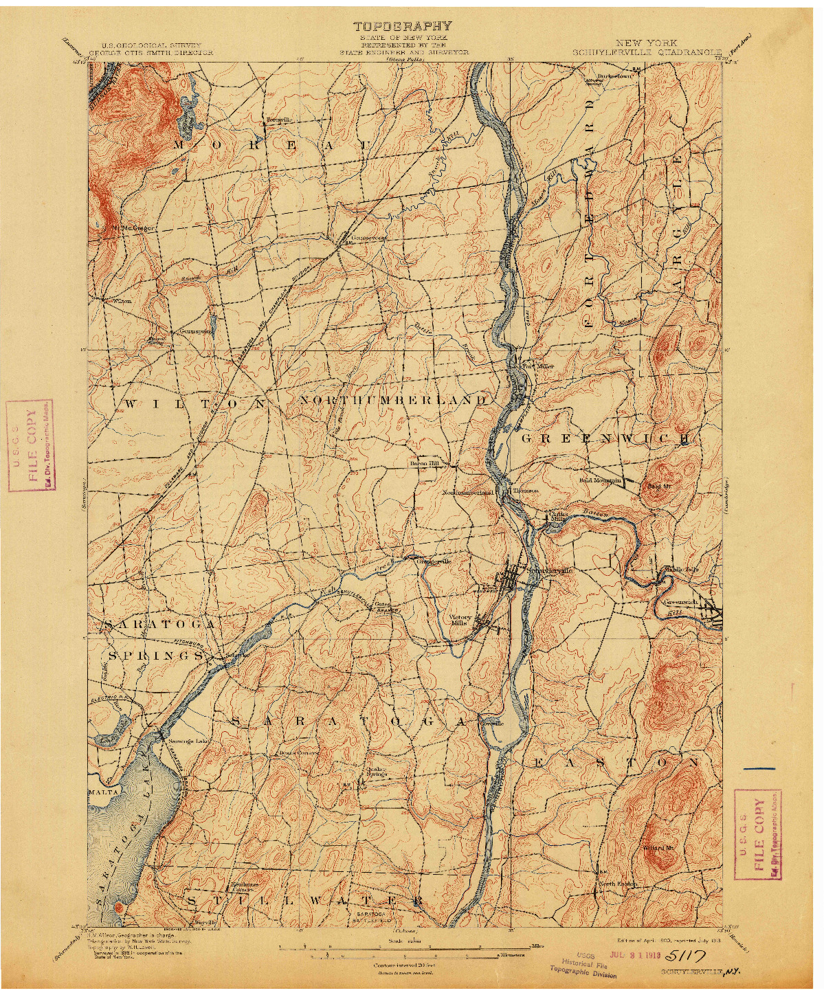 USGS 1:62500-SCALE QUADRANGLE FOR SCHUYLERVILLE, NY 1900