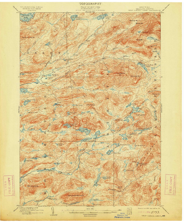 USGS 1:62500-SCALE QUADRANGLE FOR WEST CANADA LAKES, NY 1903