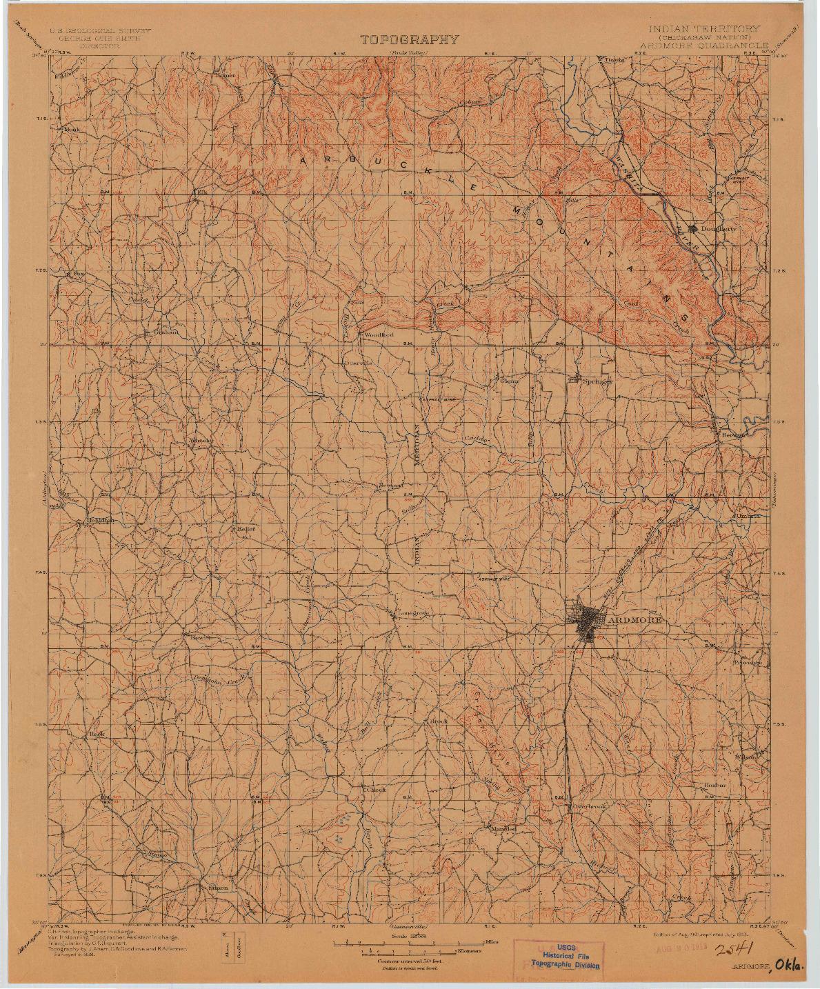 USGS 1:125000-SCALE QUADRANGLE FOR ARDMORE, IT 1901