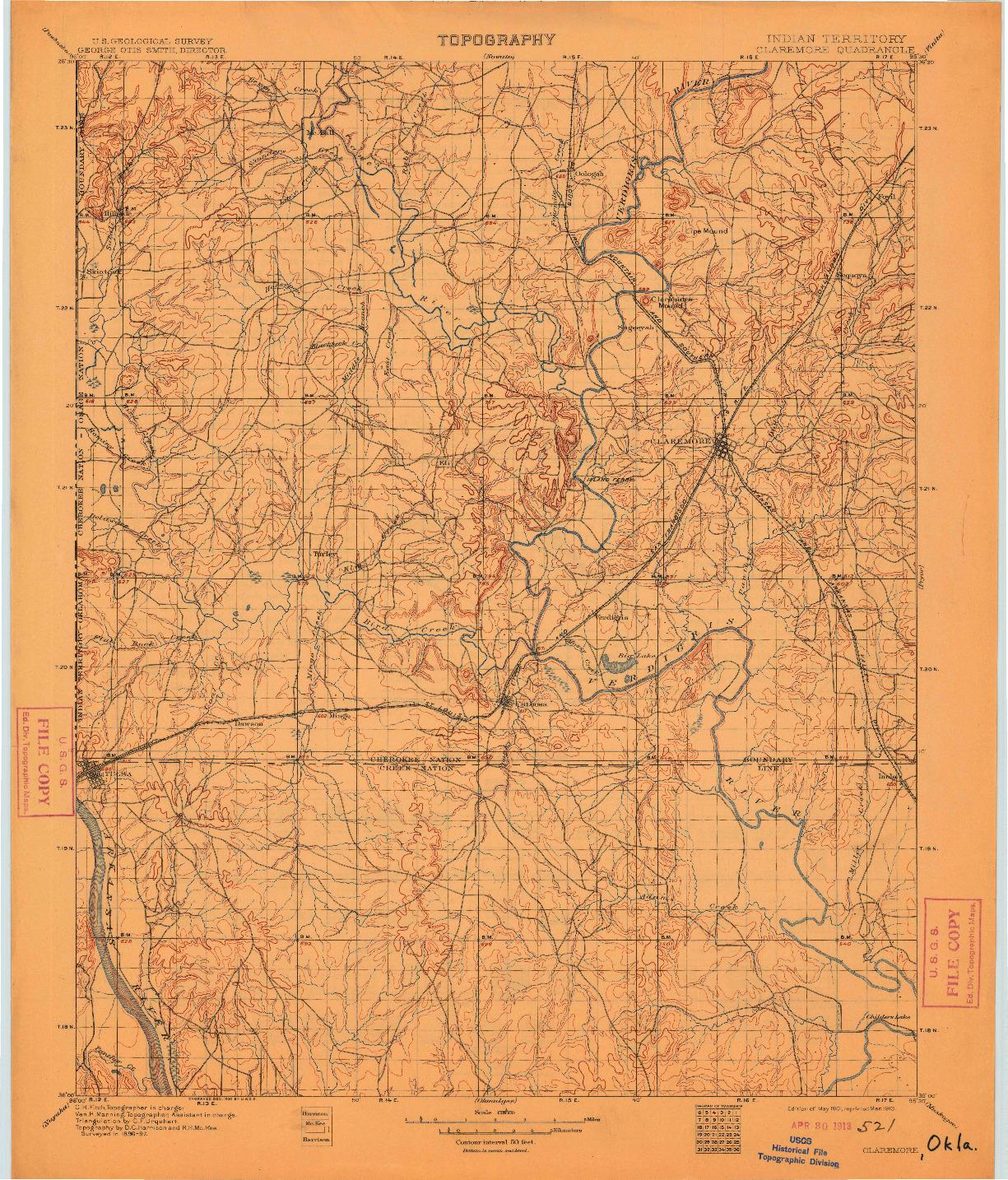 USGS 1:125000-SCALE QUADRANGLE FOR CLAREMORE, OK 1901