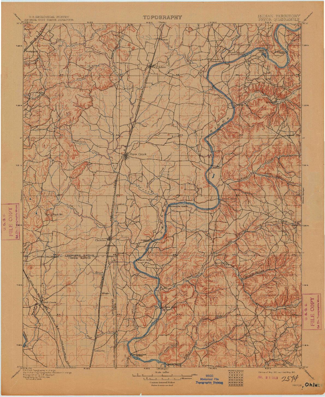 USGS 1:125000-SCALE QUADRANGLE FOR PRYOR, OK 1901