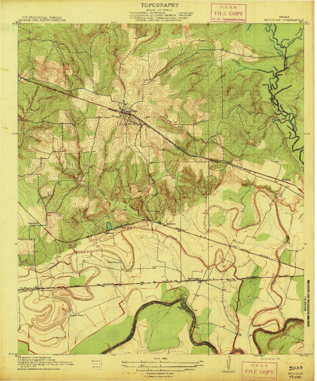 USGS 1:31680-SCALE QUADRANGLE FOR MILLICAN, TX 1913
