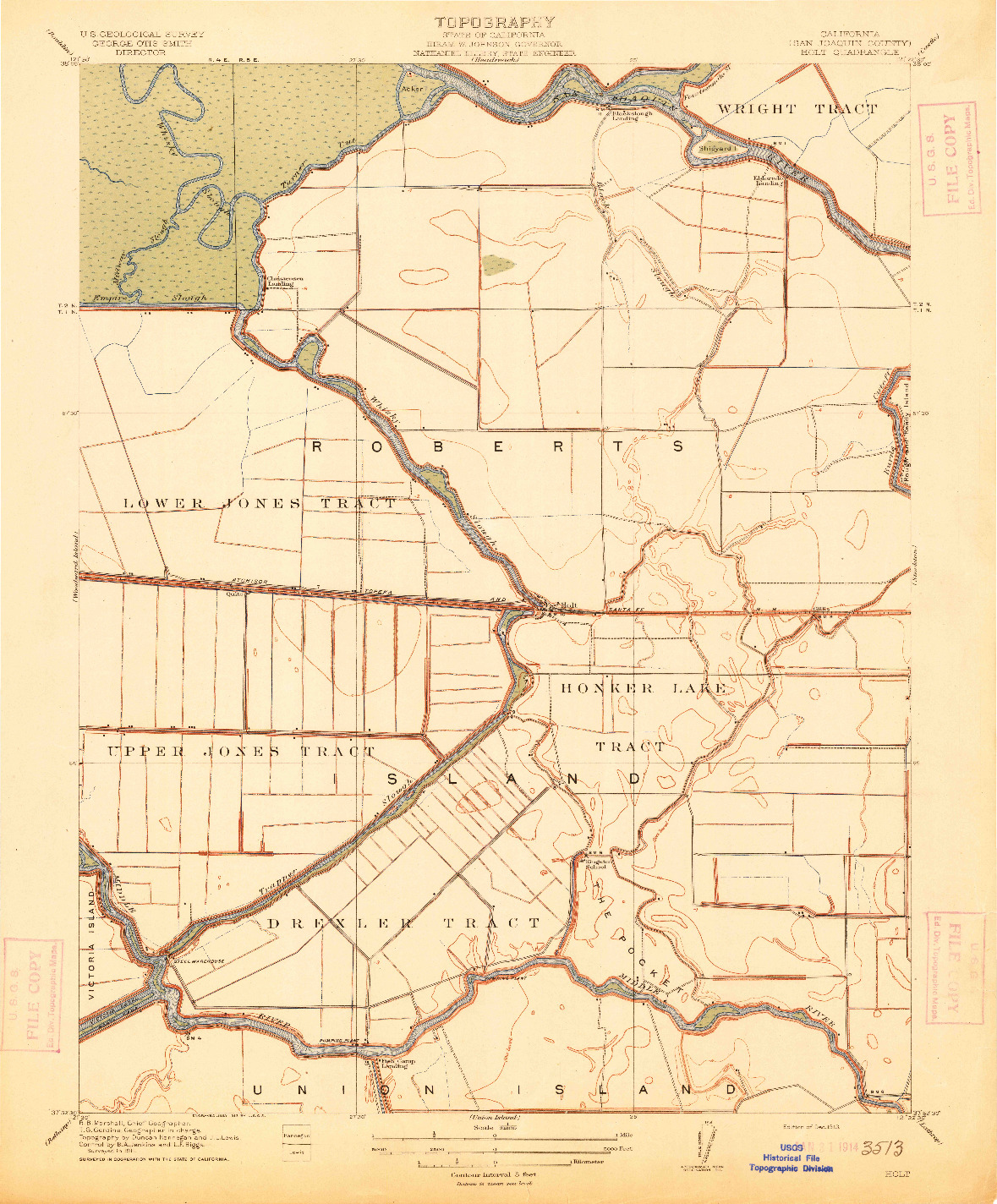 USGS 1:31680-SCALE QUADRANGLE FOR HOLT, CA 1913
