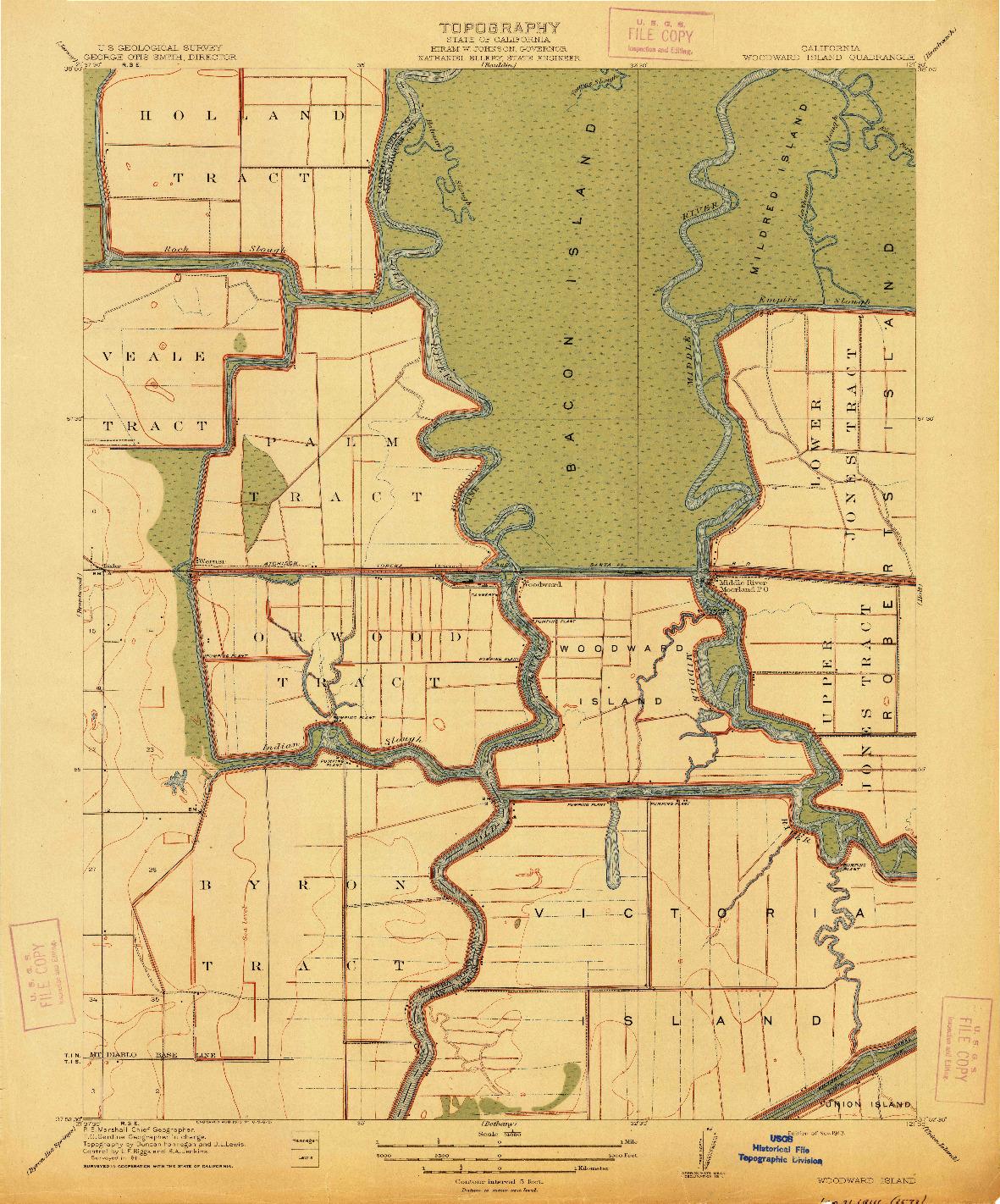 USGS 1:31680-SCALE QUADRANGLE FOR WOODWARD, CA 1913