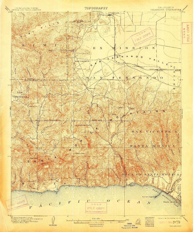 USGS 1:62500-SCALE QUADRANGLE FOR CALABASAS, CA 1903