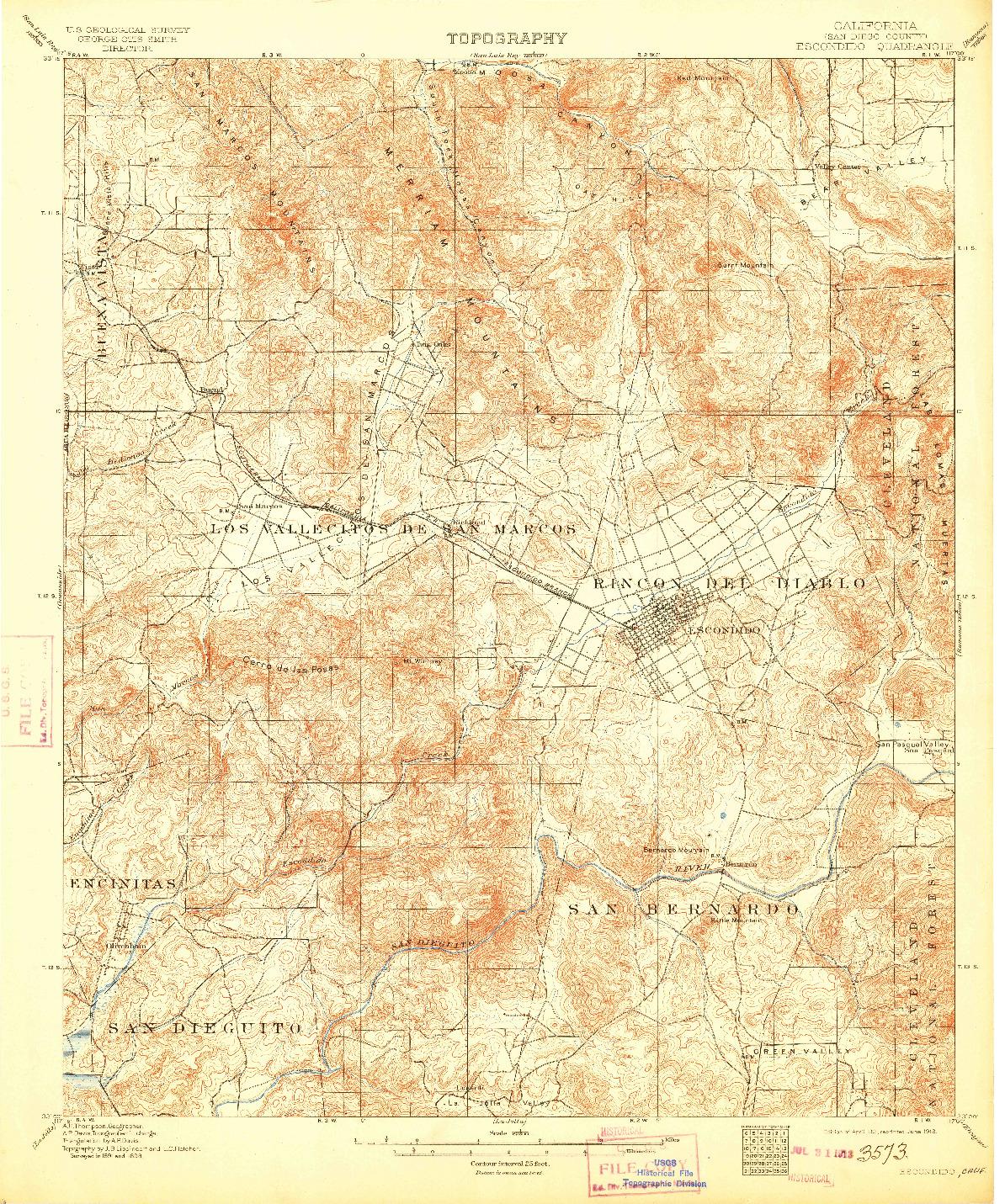 USGS 1:62500-SCALE QUADRANGLE FOR ESCONDIDO, CA 1901