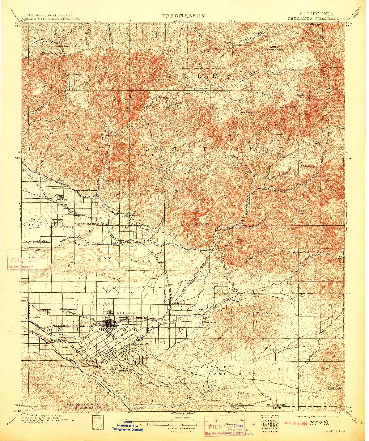 USGS 1:62500-SCALE QUADRANGLE FOR REDLANDS, CA 1901