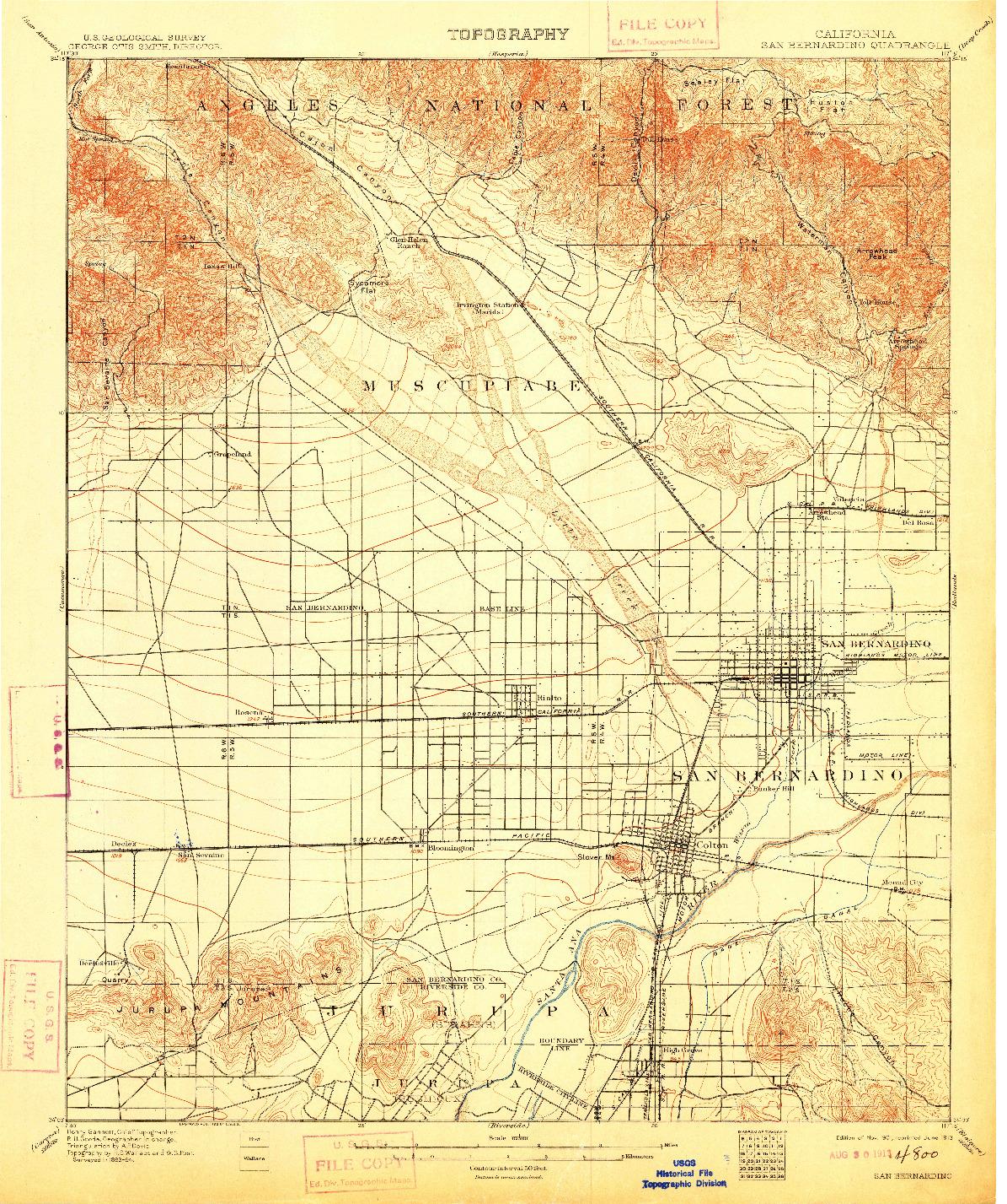 USGS 1:62500-SCALE QUADRANGLE FOR SAN BERNARDINO, CA 1901
