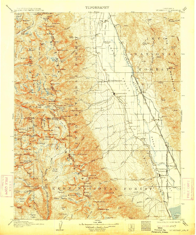 USGS 1:125000-SCALE QUADRANGLE FOR MT. WHITNEY, CA 1907