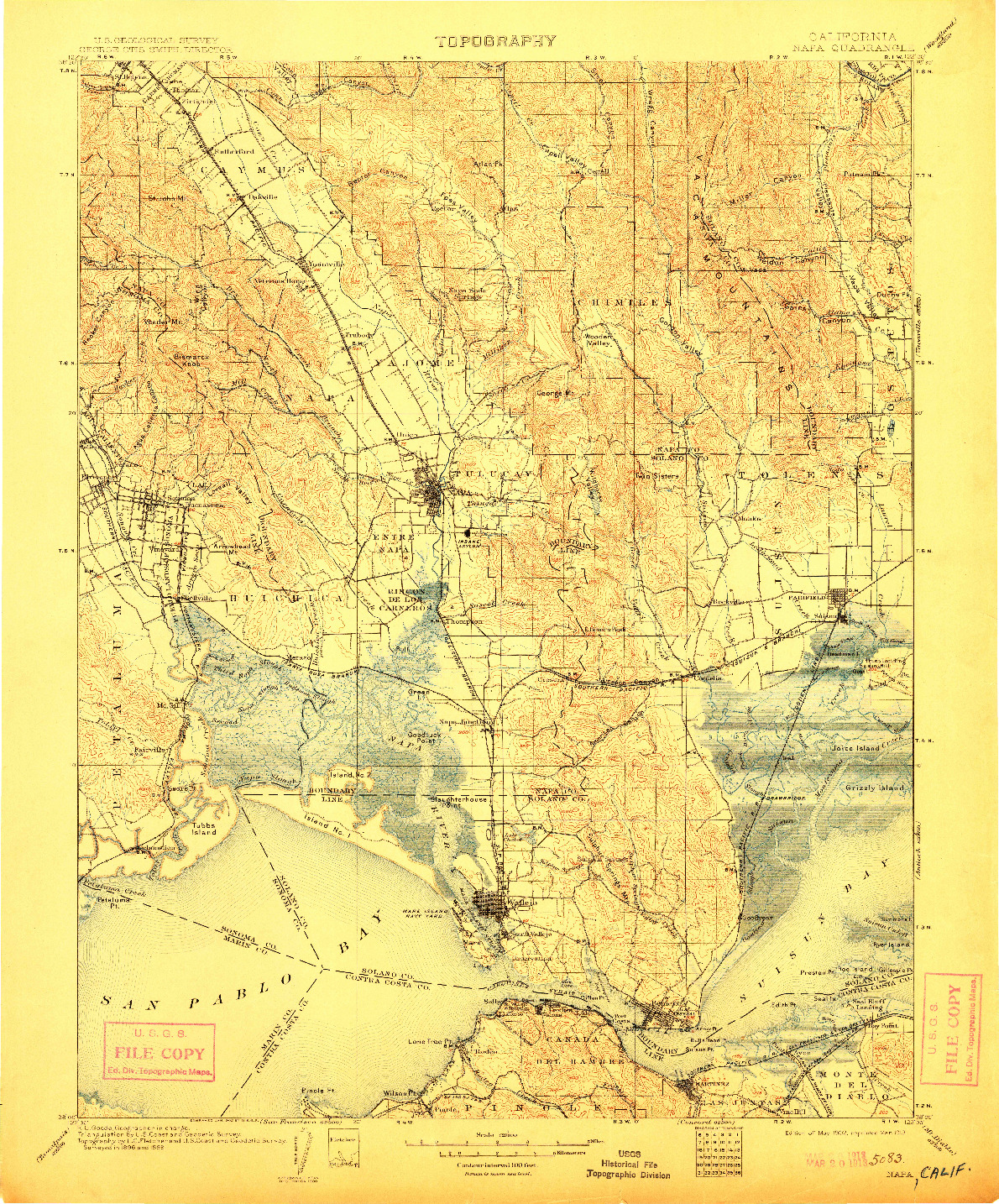 USGS 1:125000-SCALE QUADRANGLE FOR NAPA, CA 1902