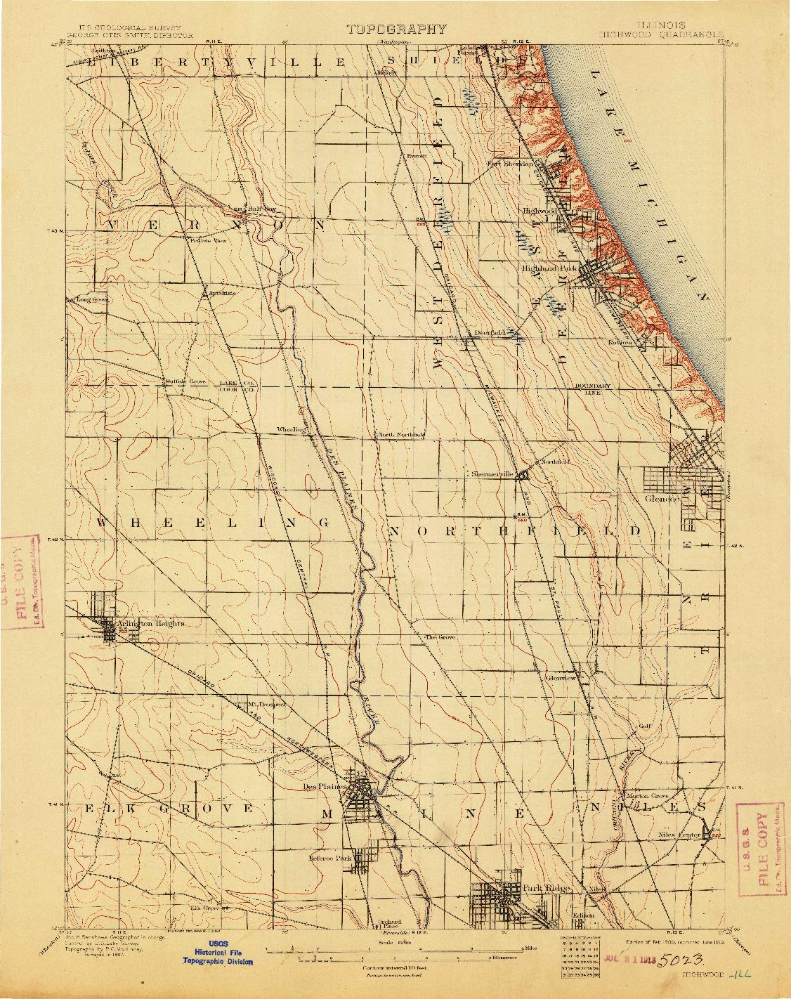 USGS 1:62500-SCALE QUADRANGLE FOR HIGHWOOD, IL 1900