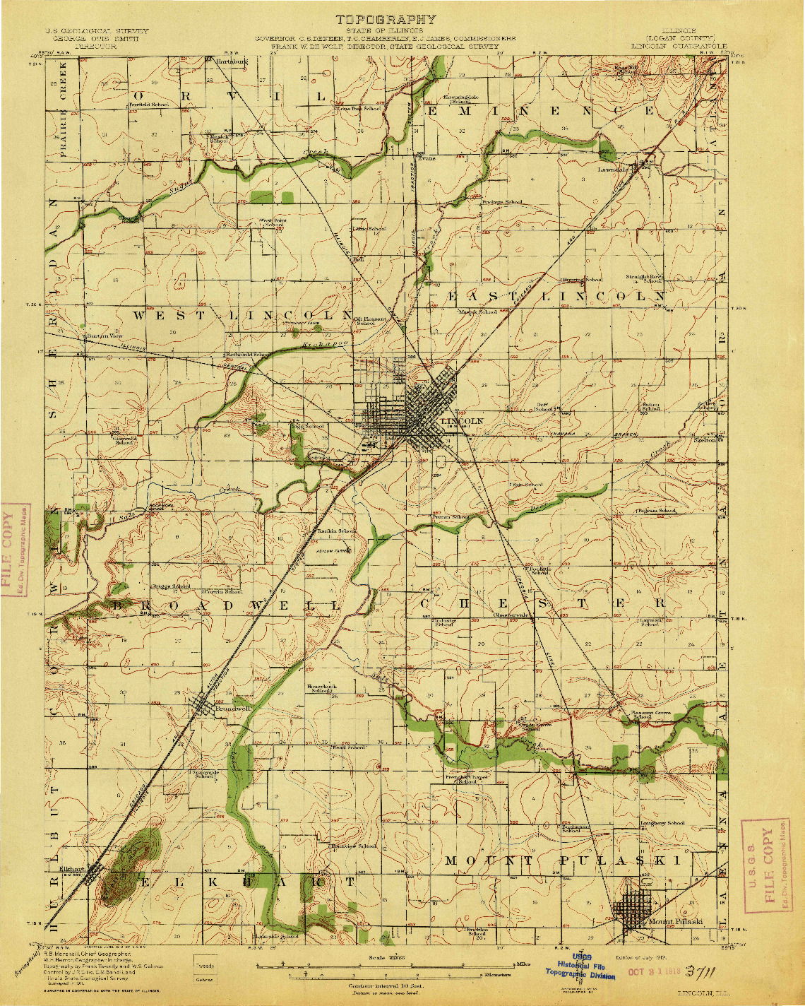 USGS 1:62500-SCALE QUADRANGLE FOR LINCOLN, IL 1913