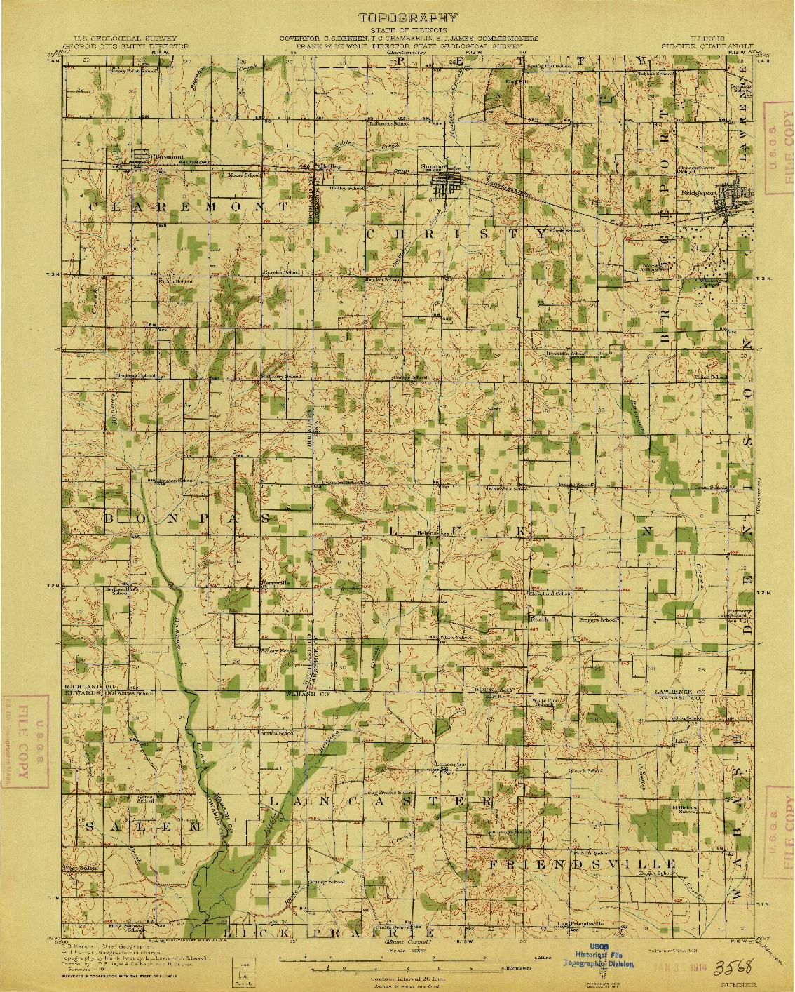 USGS 1:62500-SCALE QUADRANGLE FOR SUMNER, IL 1913