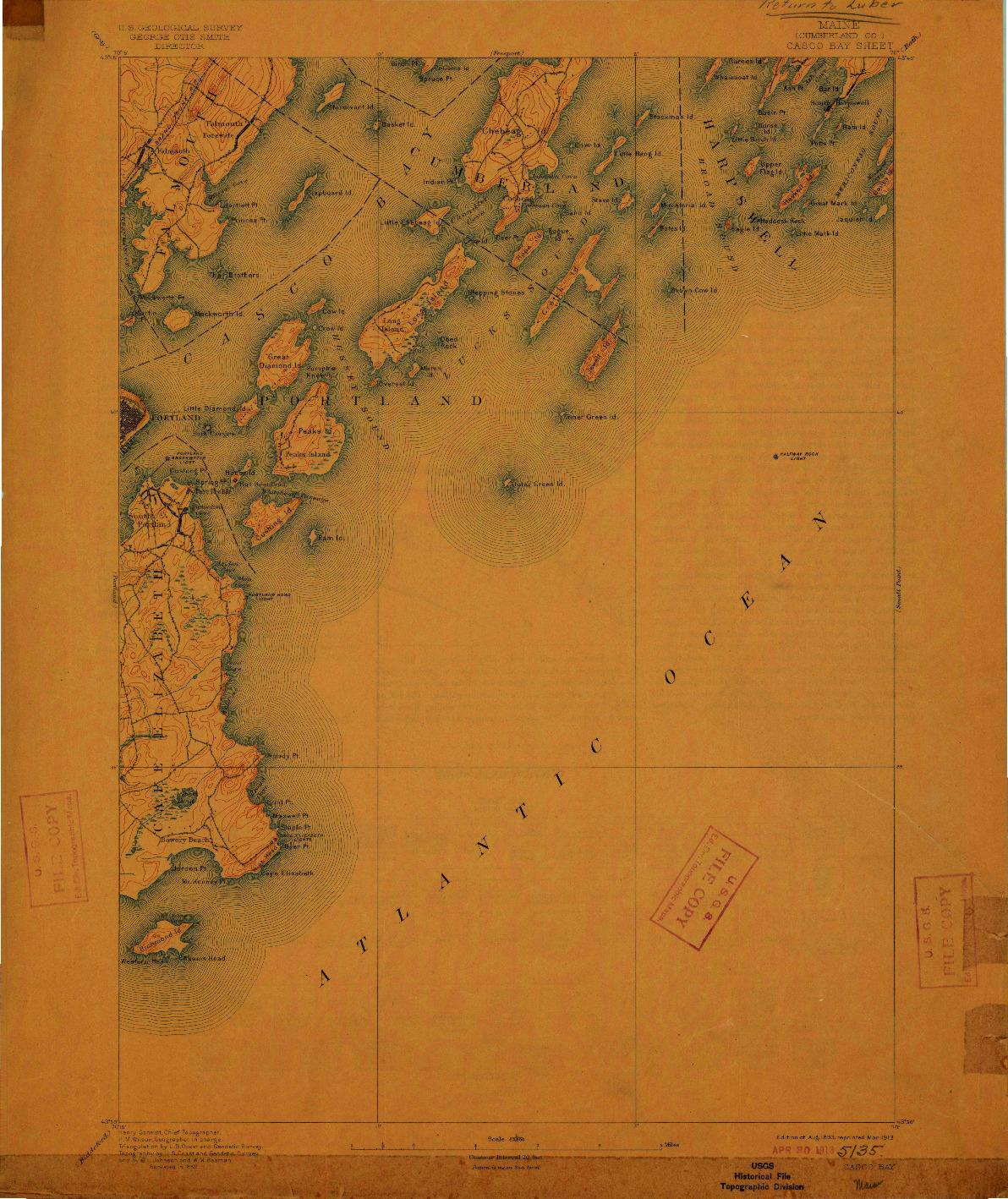 USGS 1:62500-SCALE QUADRANGLE FOR CASCO BAY, ME 1893