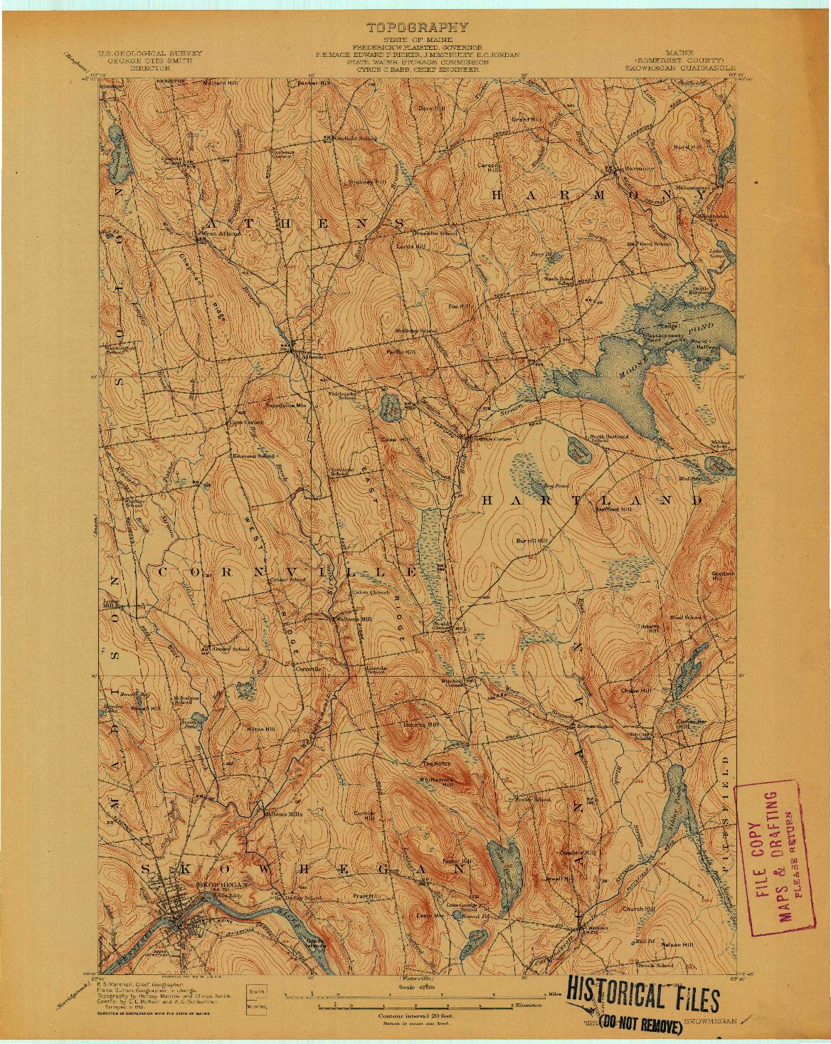 USGS 1:62500-SCALE QUADRANGLE FOR SKOWHEGAN, ME 1913