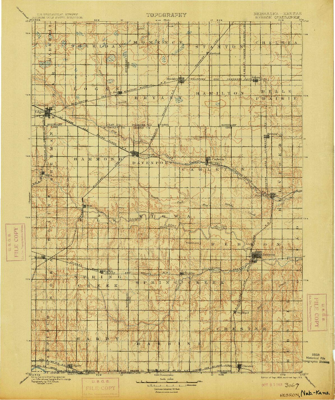 USGS 1:125000-SCALE QUADRANGLE FOR HEBRON, NE 1898