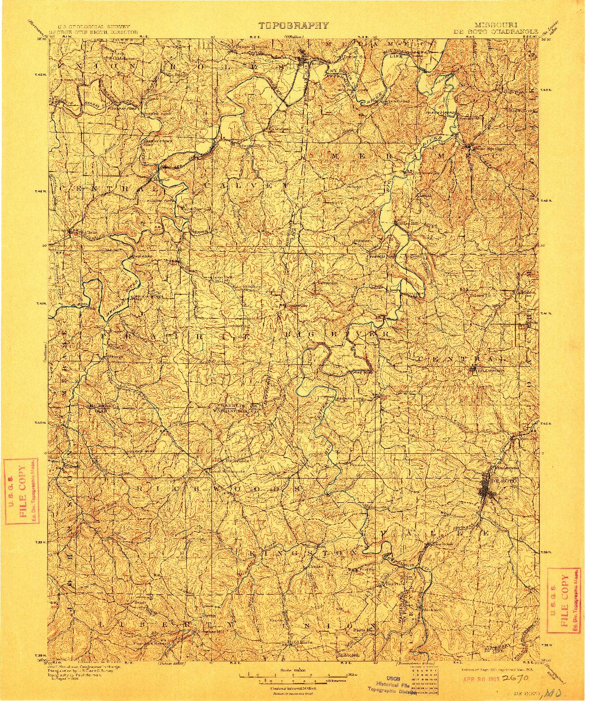 USGS 1:125000-SCALE QUADRANGLE FOR DE SOTO, MO 1901