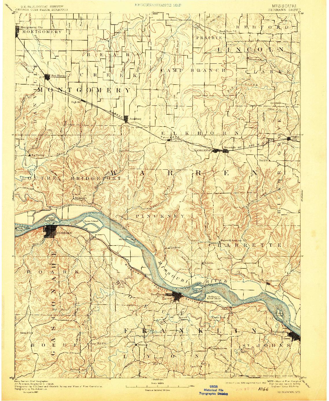 USGS 1:125000-SCALE QUADRANGLE FOR HERMANN, MO 1890