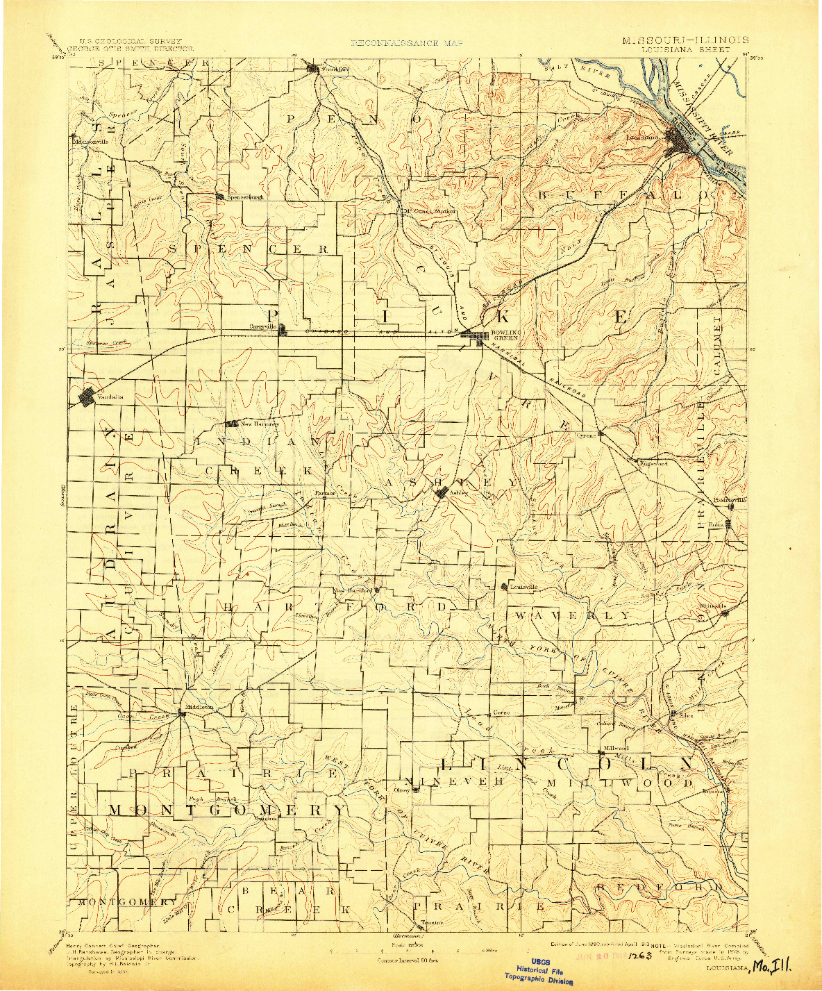 USGS 1:125000-SCALE QUADRANGLE FOR LOUISIANA, MO 1890