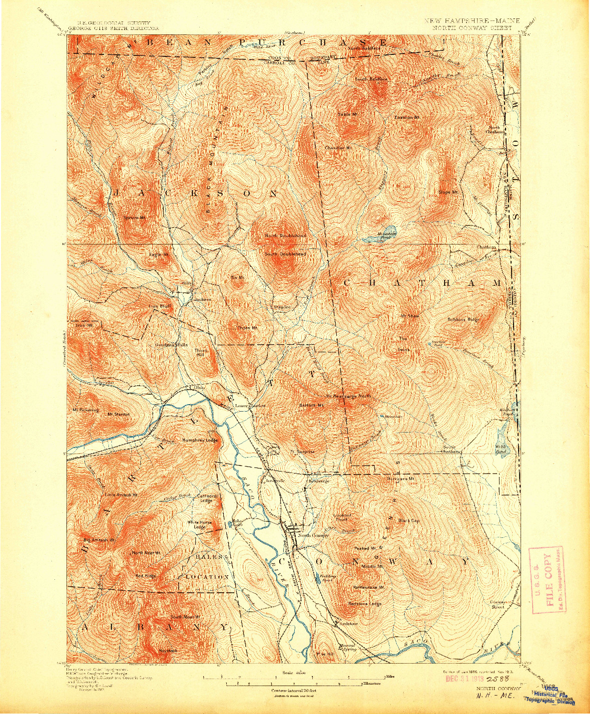 USGS 1:62500-SCALE QUADRANGLE FOR NORTH CONWAY, NH 1896
