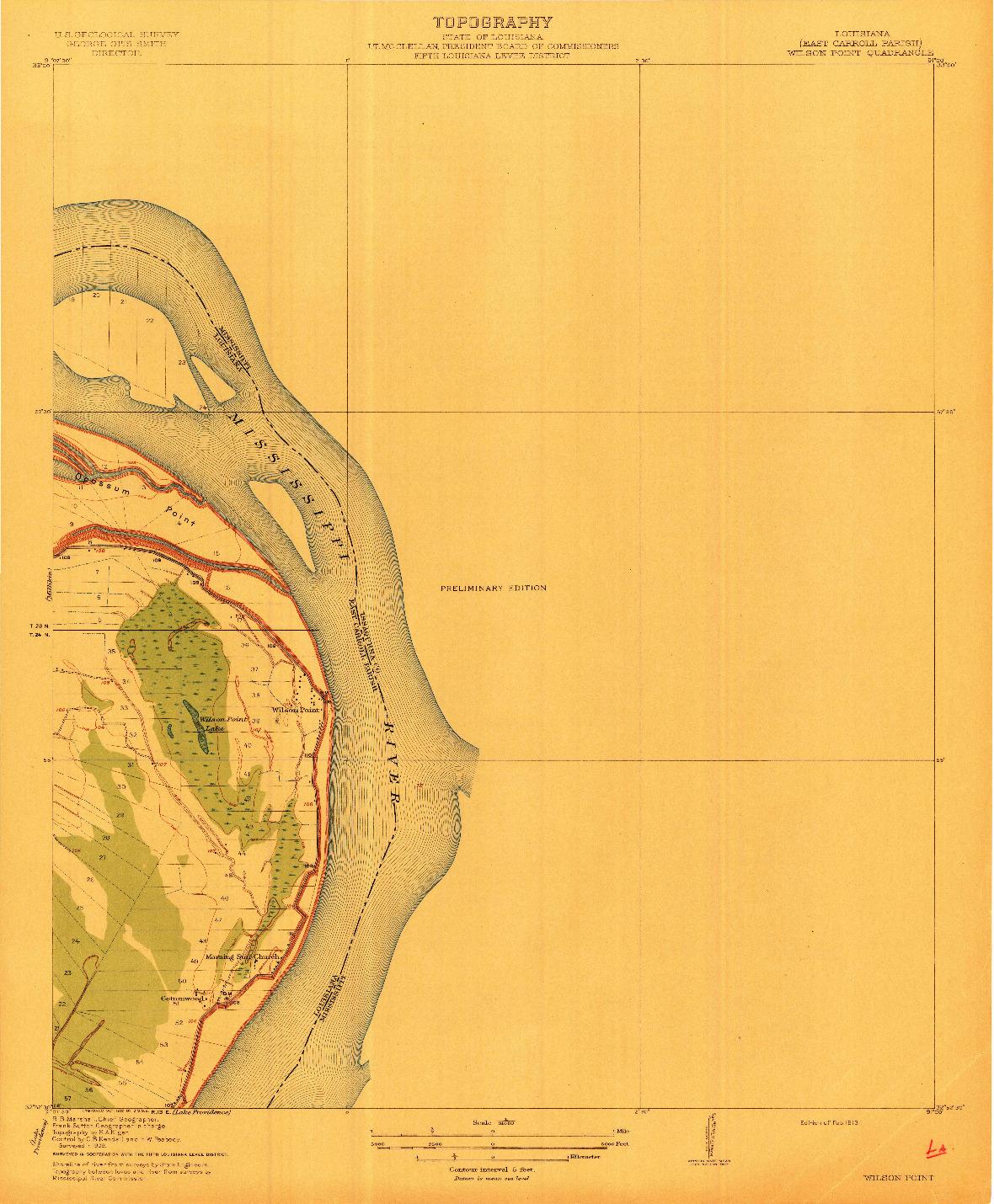 USGS 1:31680-SCALE QUADRANGLE FOR WILSON POINT, LA 1913