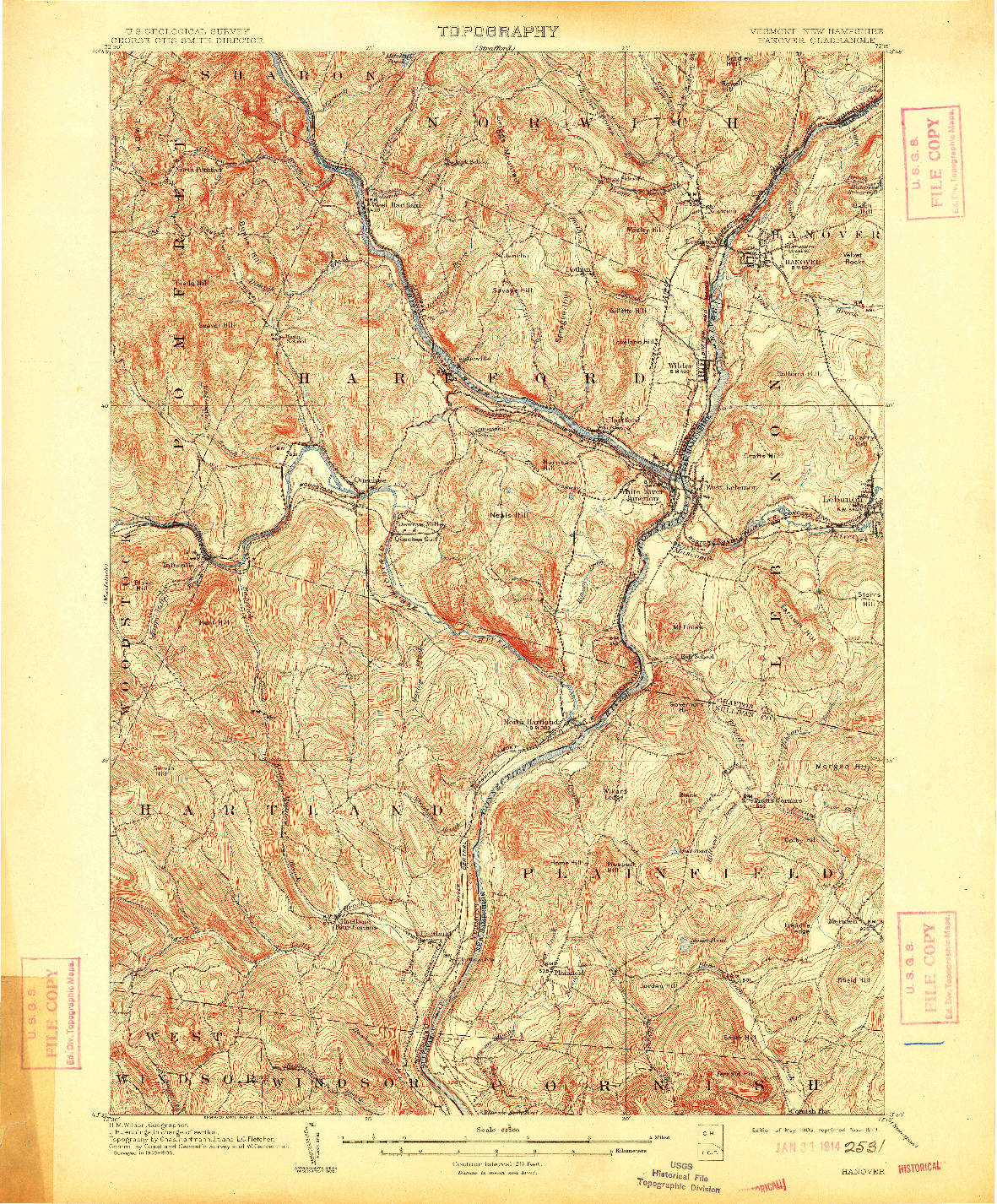 USGS 1:62500-SCALE QUADRANGLE FOR HANOVER, VT 1908
