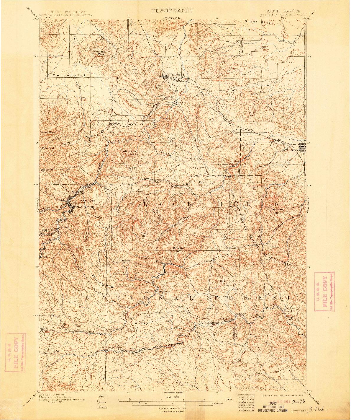 USGS 1:62500-SCALE QUADRANGLE FOR STURGIS, SD 1899