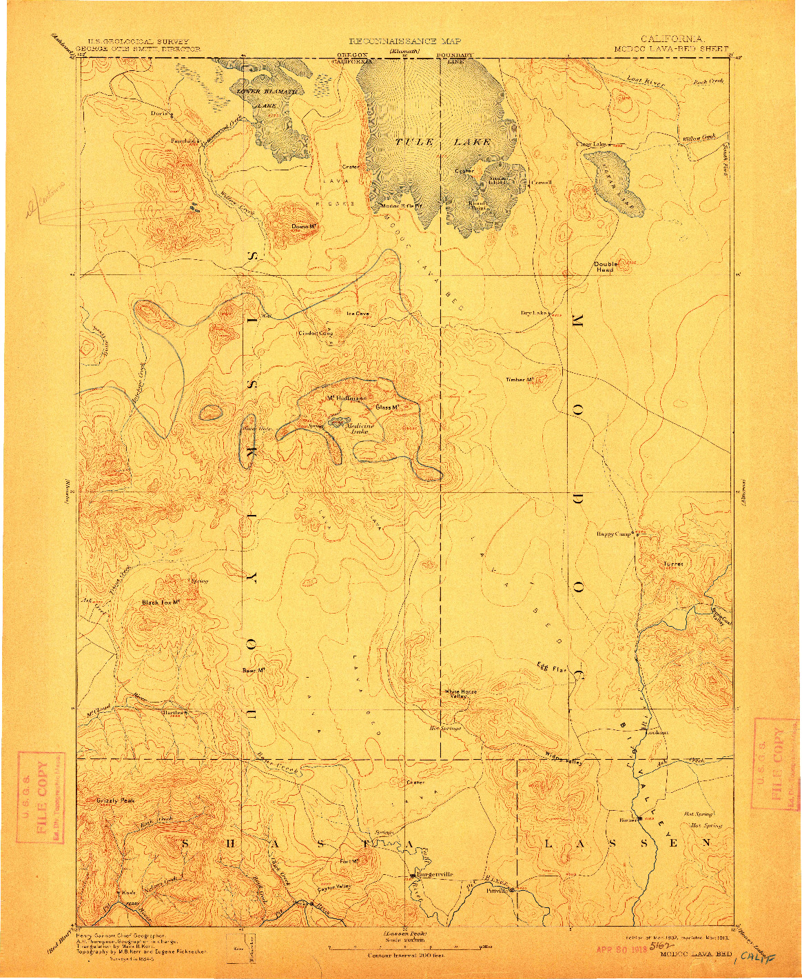 USGS 1:250000-SCALE QUADRANGLE FOR MODOC LAVA BED, CA 1892