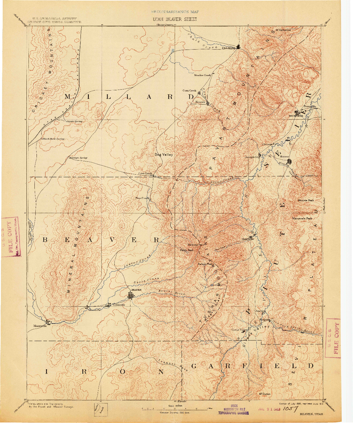 USGS 1:250000-SCALE QUADRANGLE FOR BEAVER, UT 1885